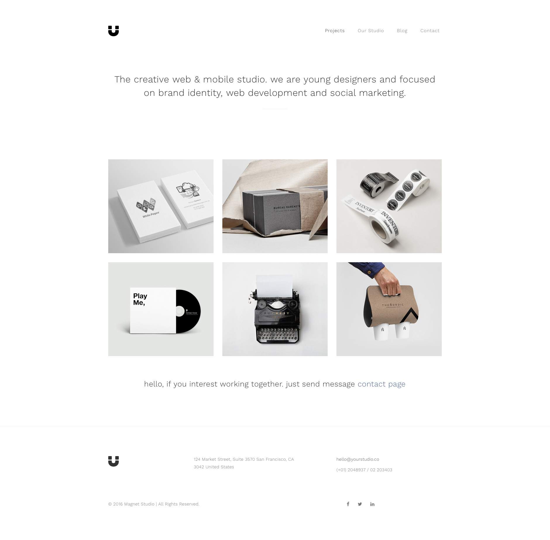 Magnet Portfolio is a free responsive HTML5 Portfolio website template based on Bootstrap 3 front-end framework. The perfect choice for portfolio websites. Magnet would be the right template whenever you need a website for a single designer or a big agency.