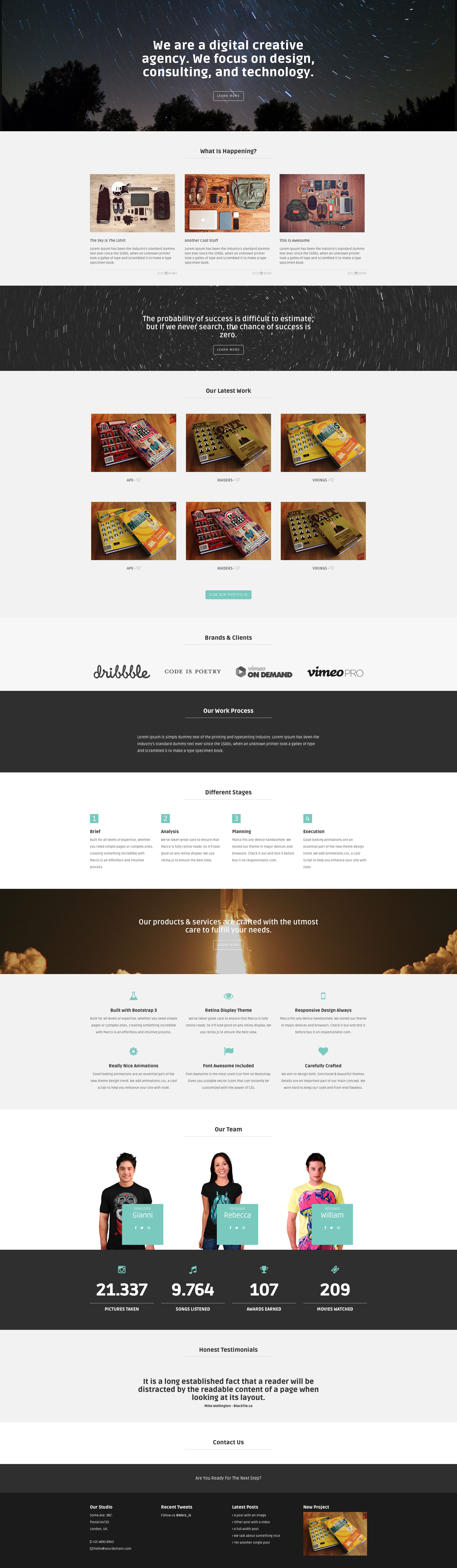 Marco is a stylish free one page responsive HTML5 Bootstrap website template. Ideal choice for freelancers or agencies. Marco template uses FontAwesome 4.0.3 and Animation.css and of course it's fully responsive.