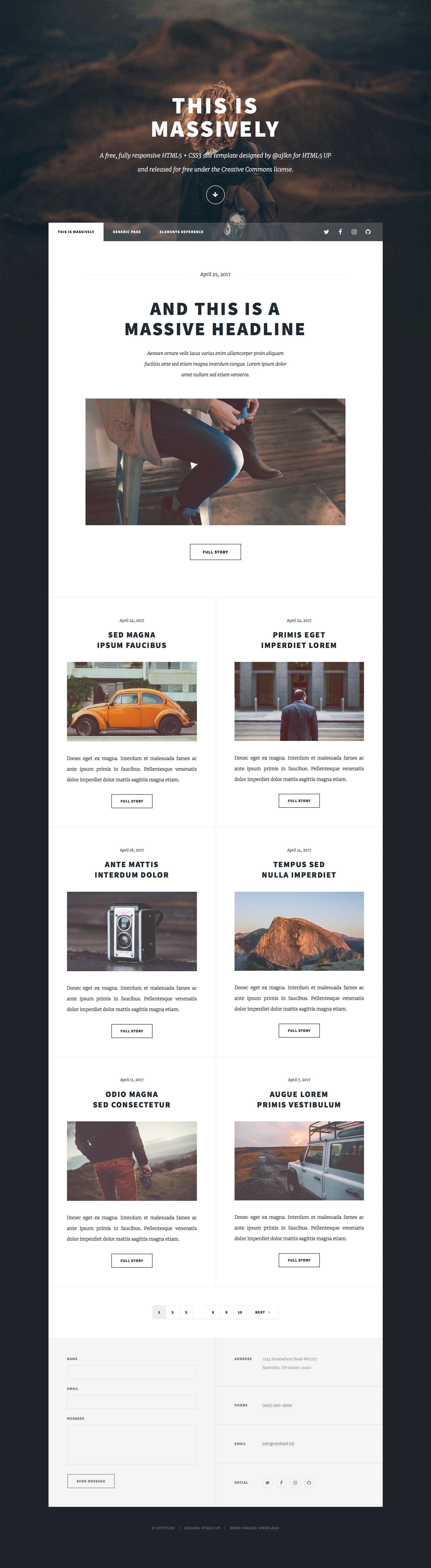 Massively is a content-heavy and article-oriented free responsive HTML5 personal template. It's design built around a huge background with scroll effects. Massively HTML 5 template comes with 3 pages: an index page, an article page and a component page. Massively HTML5 template is retina ready and it has a custom-built Responsive CSS Grid System.