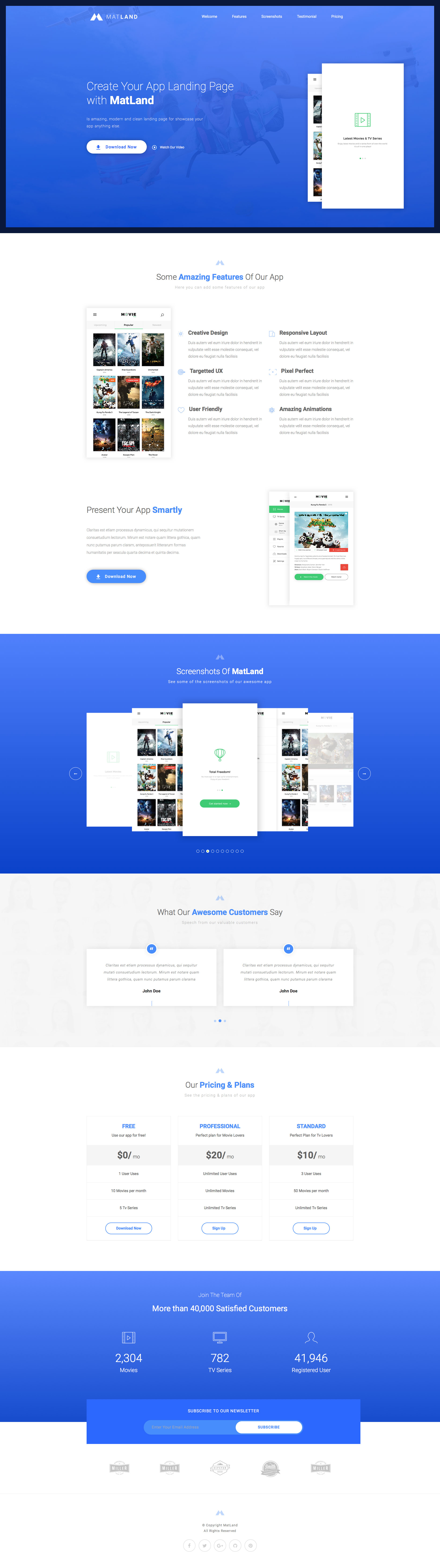 MatLand is a beautiful and clean responsive HTML5 website App Landing page. It comes with 7 variations included different colors. MatLand app Landing page template is built on the popular Bootstrap 3 framework.