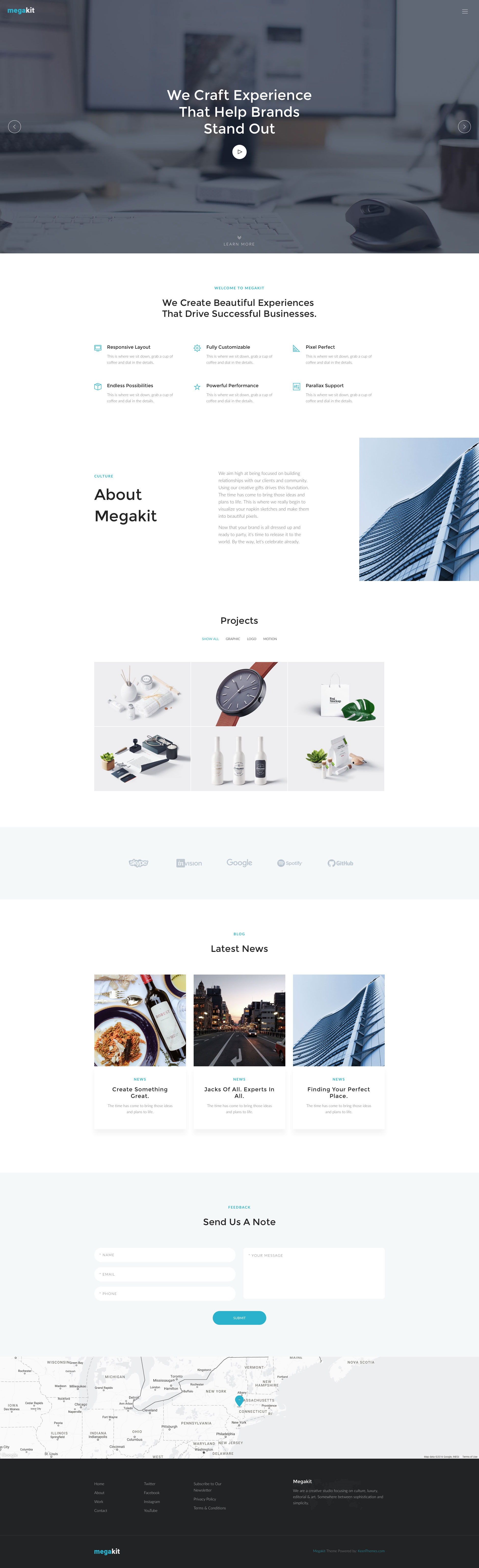 Megakit is a free responsive HTML5 Bootstrap multipurpose website template. It features fully responsive and mobile friendly design, reusable templates and components, offcanvas menu, parallax effects, developer friendly code. Megakit template is fully responsive and built on the popular Bootstrap 3 framework.