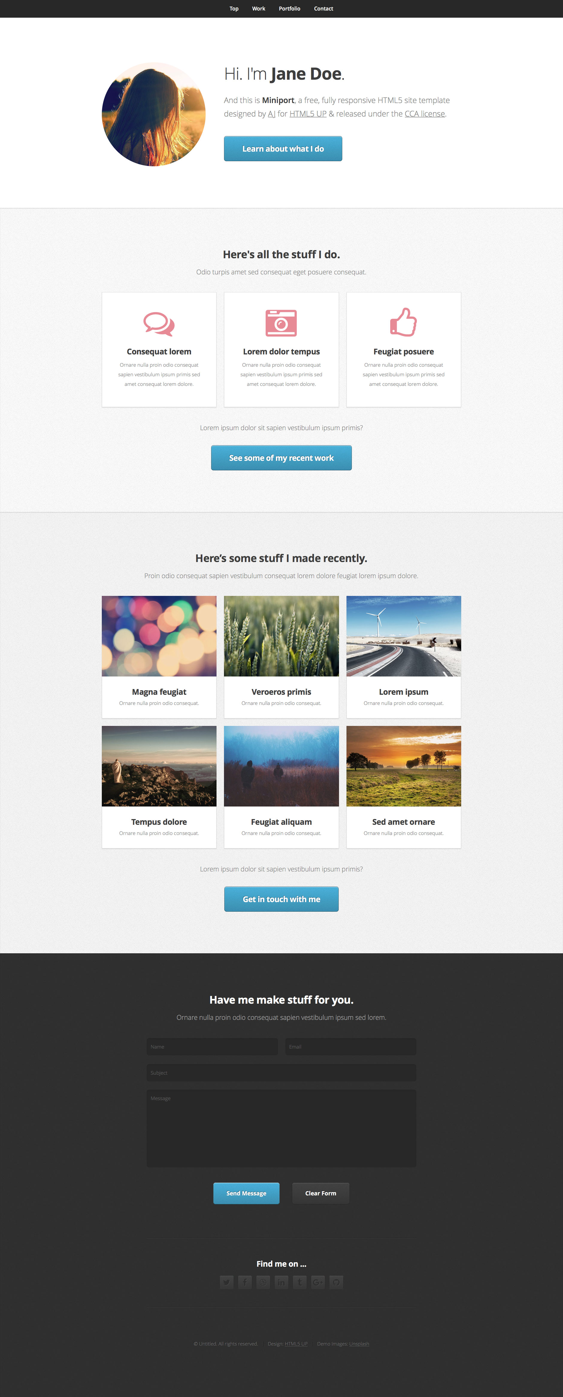 miniport free responsive html5 template htmltemplates co