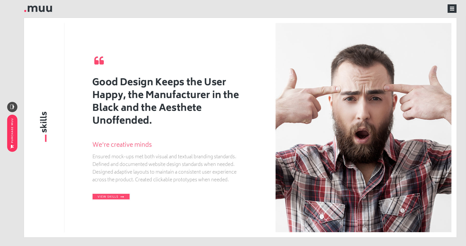 MUU is a creative and minimal HTML5 Bootstrap one page portfolio website template for creative professionals or individuals to showcase their work in interactive way. It is suitable for  Designer Portfolio, Illustrator Portfolio or Personal website. MUU template  includes light and dark skin and built on the latest HTML5 and CSS3.