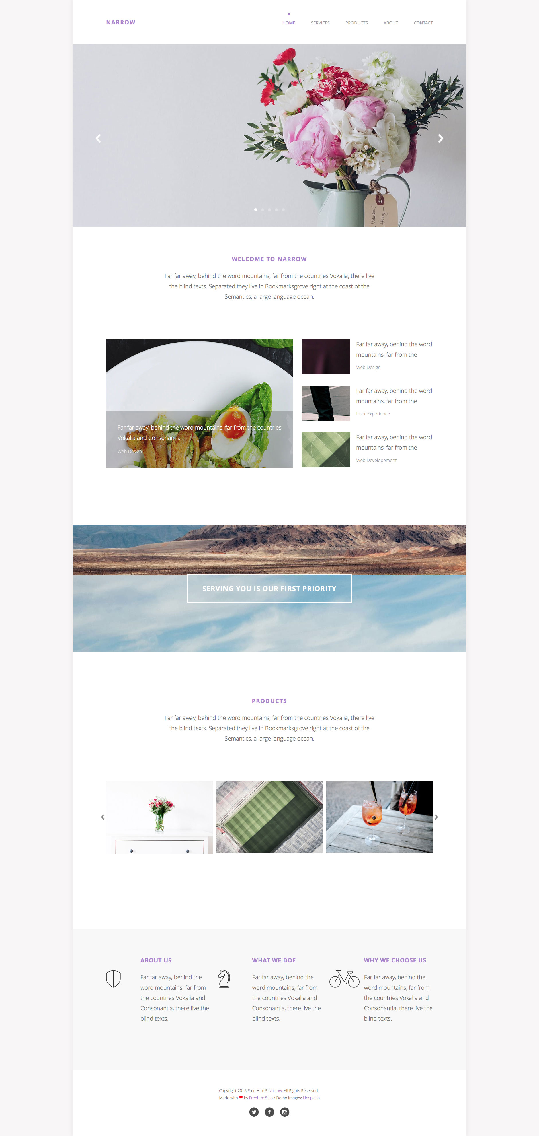 Narrow is a free responsive multipurpose HTML5 template using bootstrap 3 framework. It is the perfect template for any type of business website. Narrow has a features like parallax, css animation. This template is built with the latest HTML5 & CSS3 technology.