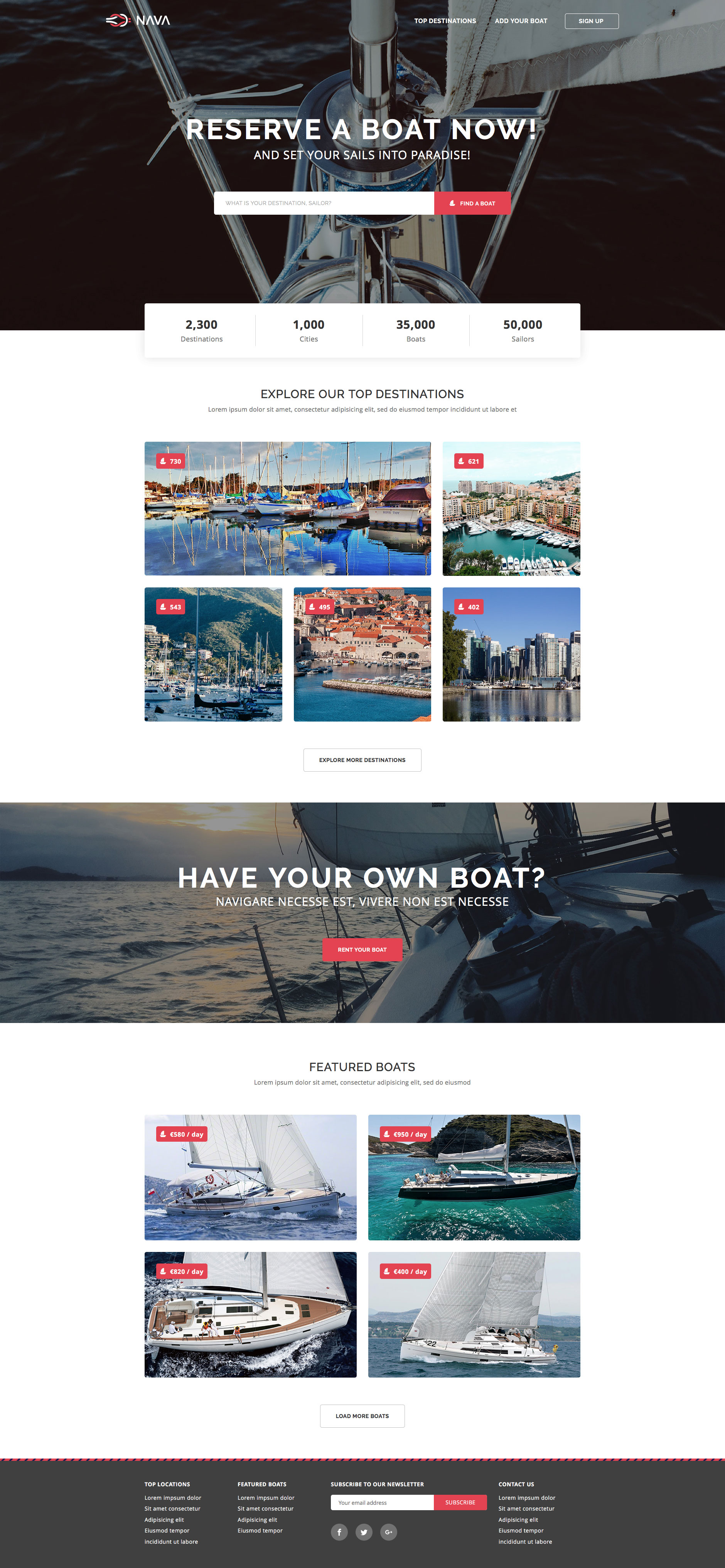 Nava is a clean, modern free responsive HTML5 website template for sites related to sailing boats, ships, cruisers, etc. You can also use Nava HTML template for diverse tourism or vacation projects. Nava is fully responsive and based on the popular Bootstrap framework.