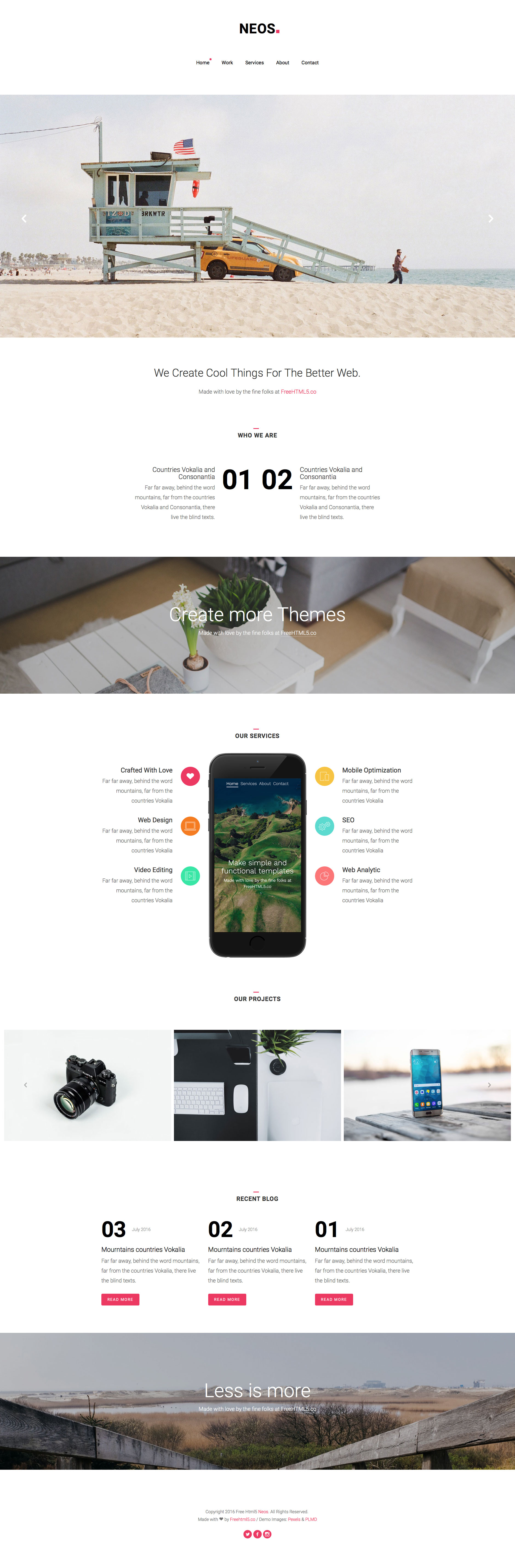 Neos is a free responsive HTML5 business website template based on Bootstrap 3 front-end framework. The prefect choice for any type of business websites. The layout of this template is fully responsive and looks great on desktop and mobile devices.