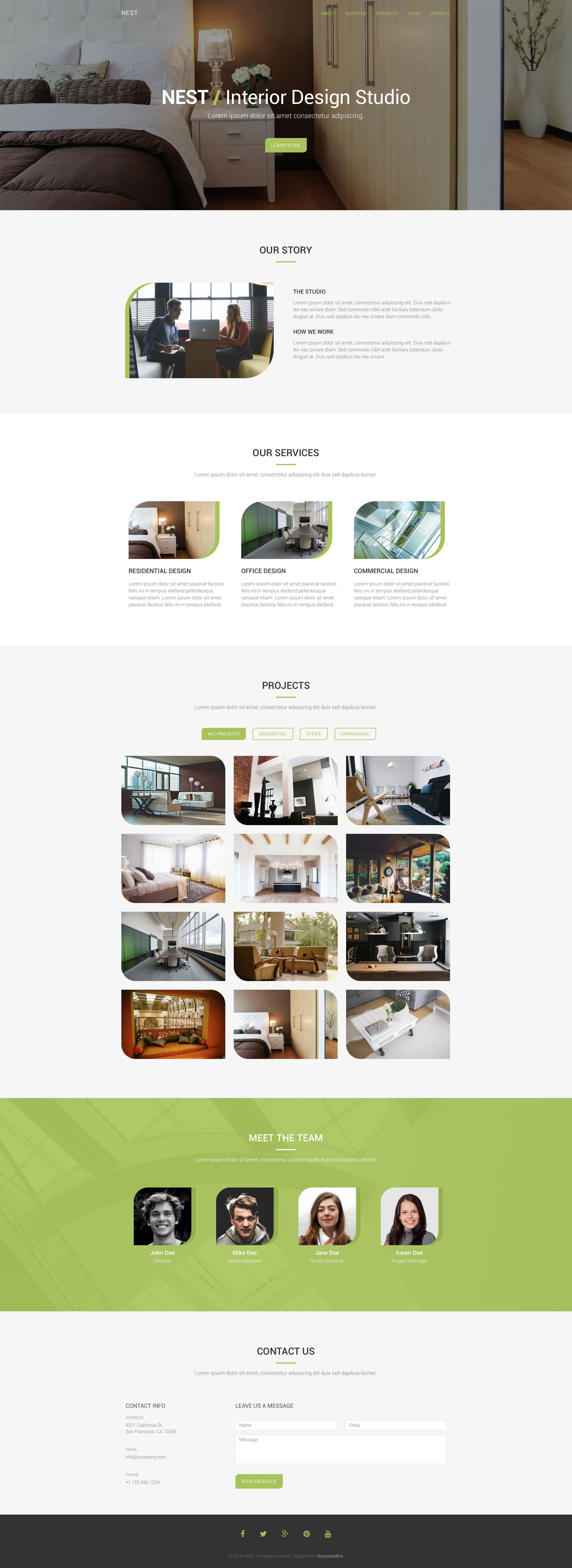 Nest is a free HTML5 Bootstrap one page interior design HTML5 website template. Nest HTML template contains 5 sections: About, Services, Projects, Team and Contact. Nest free HTML template is fully responsive, retina ready and comes with the popular Bootstrap CSS Grid System.