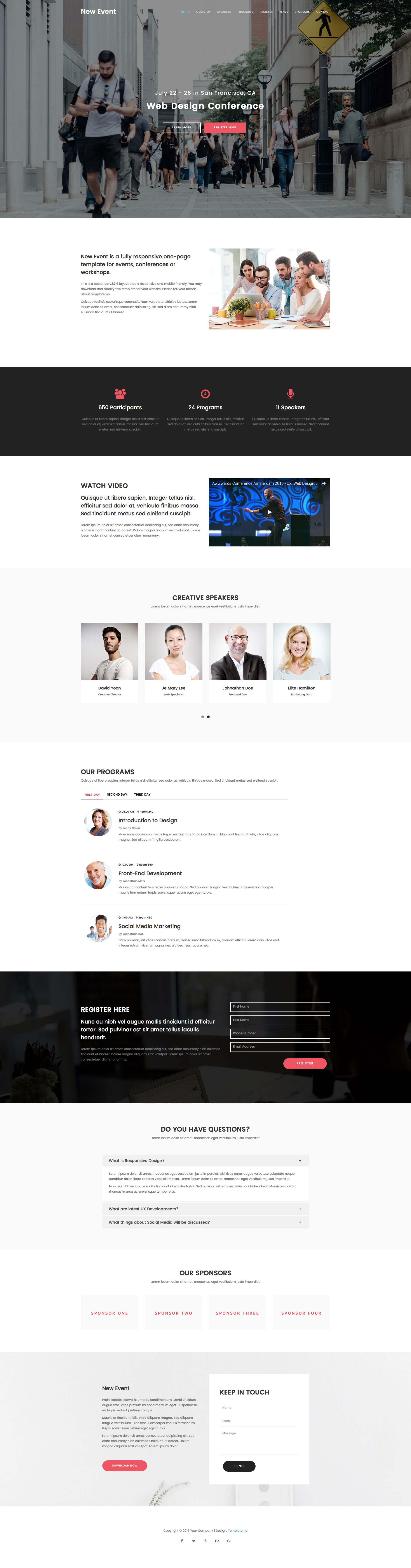 New Event is a free responsive HTML5 event template using Bootstrap 3 framework. New Event has a features like parallax, css animations, sticky header and many more. It is the perfect template for event related websites. Event template is built with the latest HTML5 & CSS3 technology.