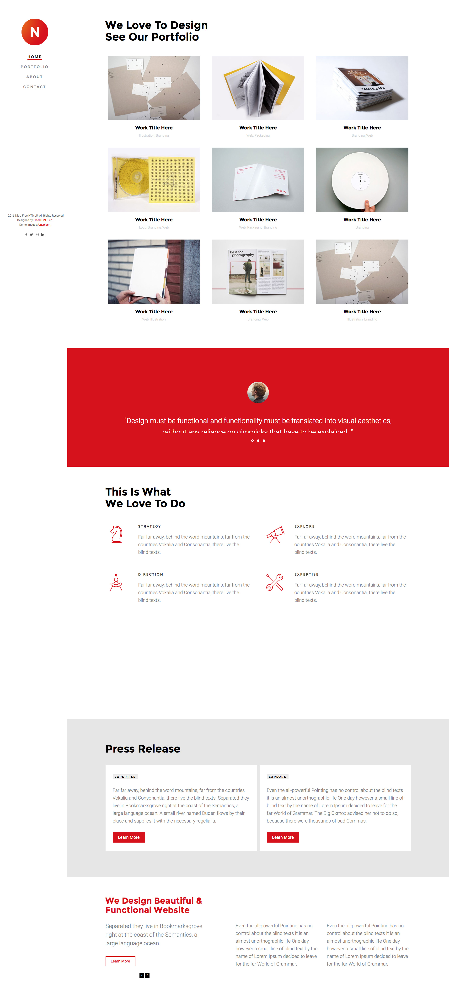 Nitro is a free responsive HTML5 website template using Bootstrap 3 framework. The speciality of this template is the left side menu section. Nitro template is the perfect choice for portfolio, web studio or agency website.