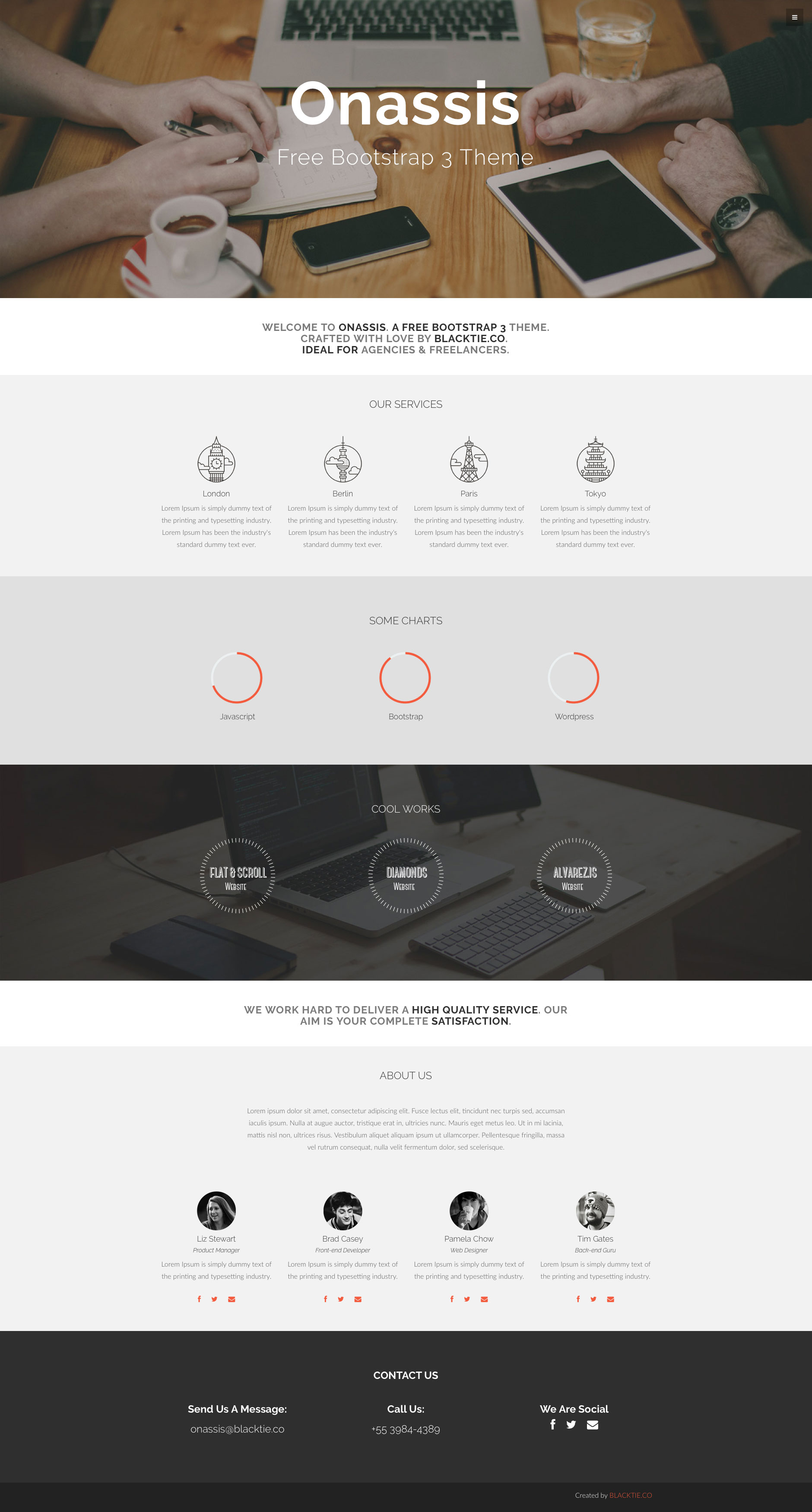Onassis is a free responsive HTML5 one-page template. Perfectly suits for for agencies or freelancers. It is a Bootstrap template. Key features include off-canvas menu and cross-browser compatibility.