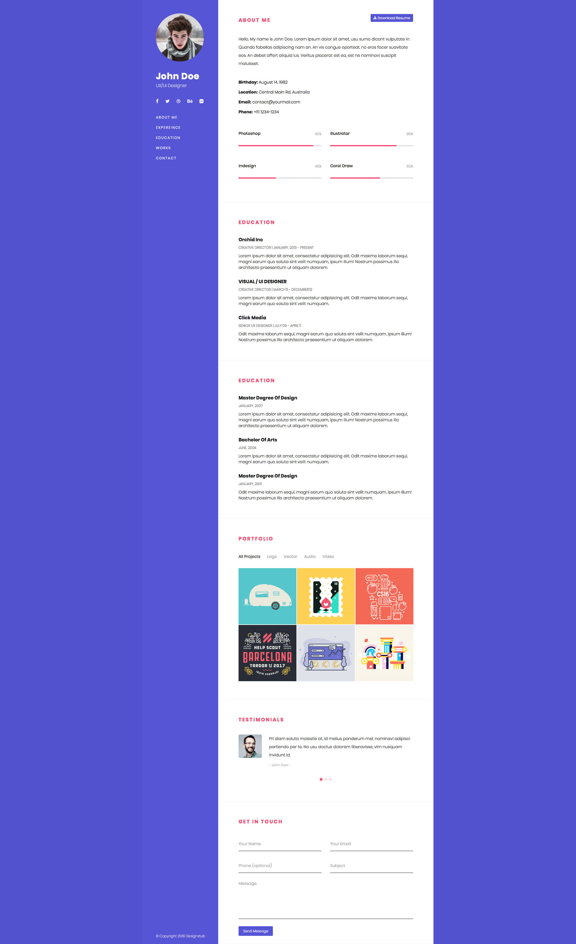 One Page Bootstrap Resume Is Ideal Theme For Creative Studios And Companies Perfectly Suits