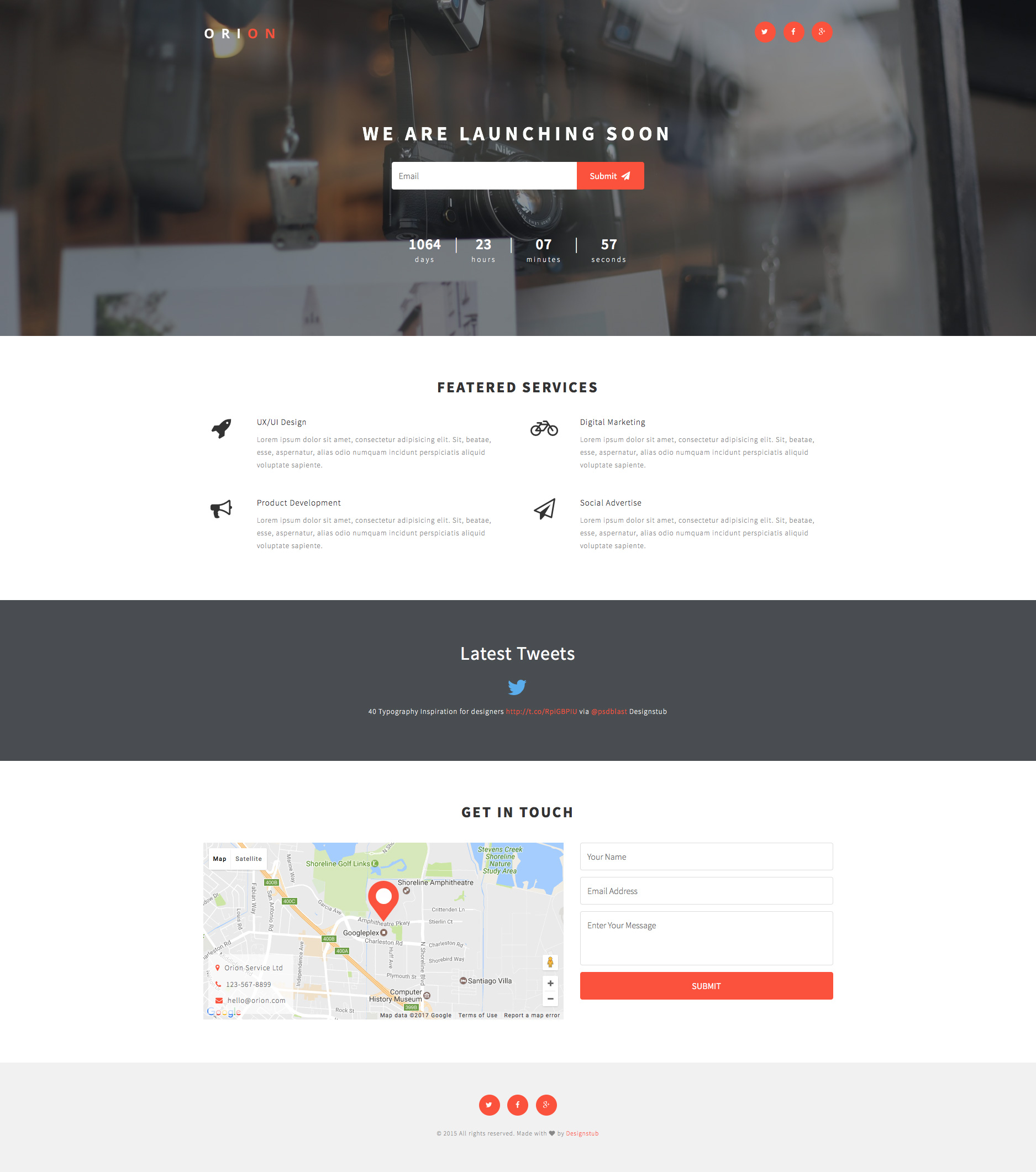 Orion is a creative, modern, minimal and fully responsive free HTML5 Bootstrap coming soon/under construction template. It is the ideal template for your coming soon page. Orion template is fully responsive and built with Bootstrap 3 framework.