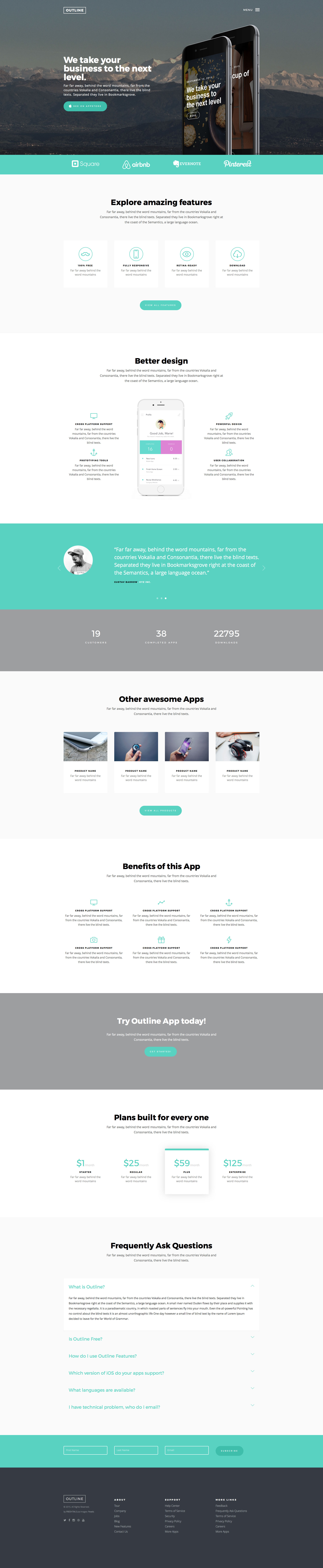 Outline is a free responsive HTML5 application website template made with Bootstrap. It is a ready-to-use one page template perfect for App landing pages. Outline is a fully responsive and Retina-ready HTML5 template.