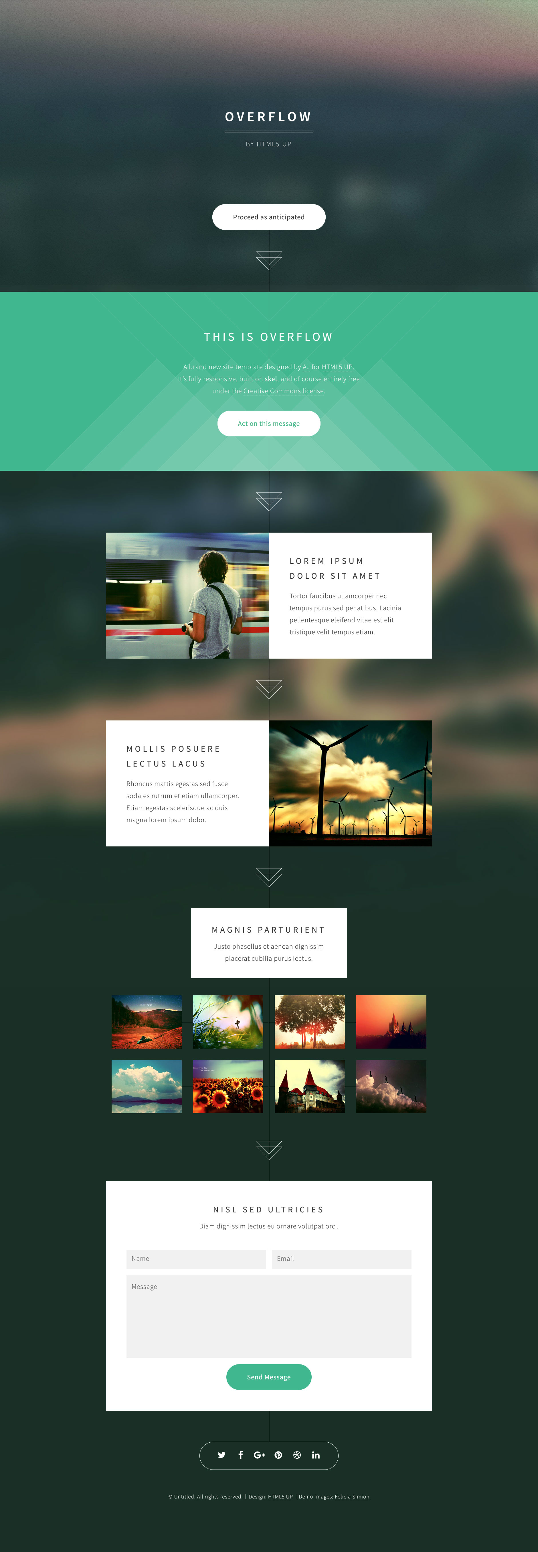 Overflow is a free html5 One page website template with full width Parallax header and pop-up gallery lightbox. Ideal for your design or photography showcase. Overflow template is based on the latest HTML5 and CSS3.
