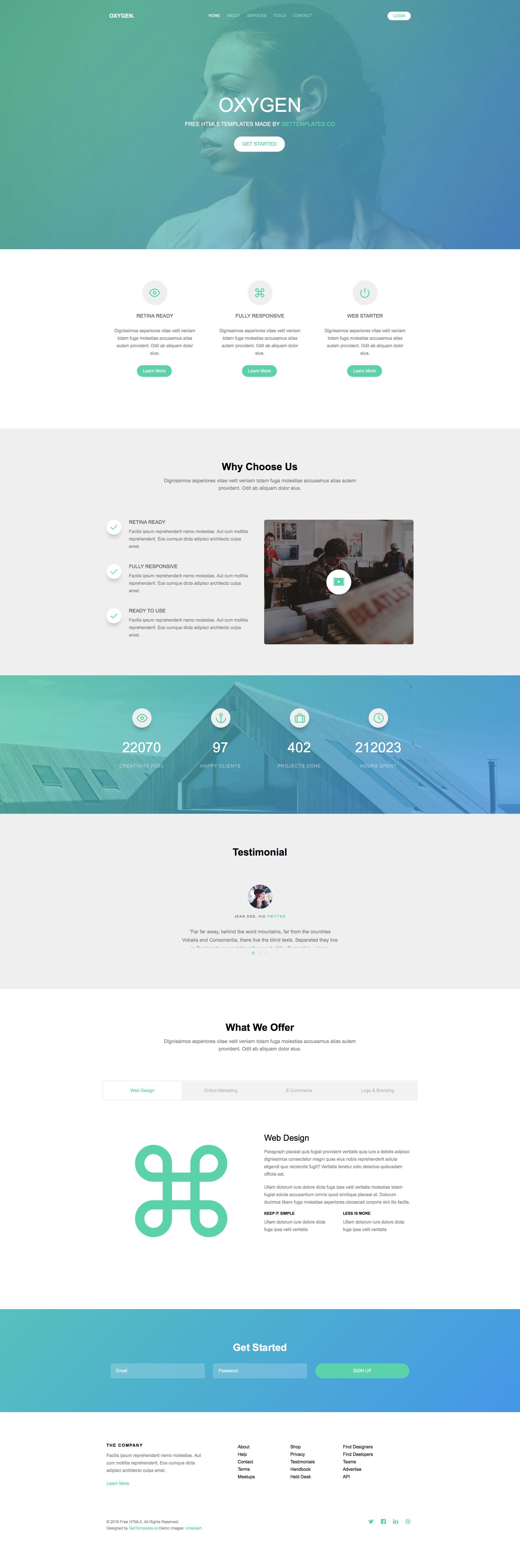 Oxygen Free Responsive HTML Bootstrap Template HTMLTEMPLATESCO - Free website content template