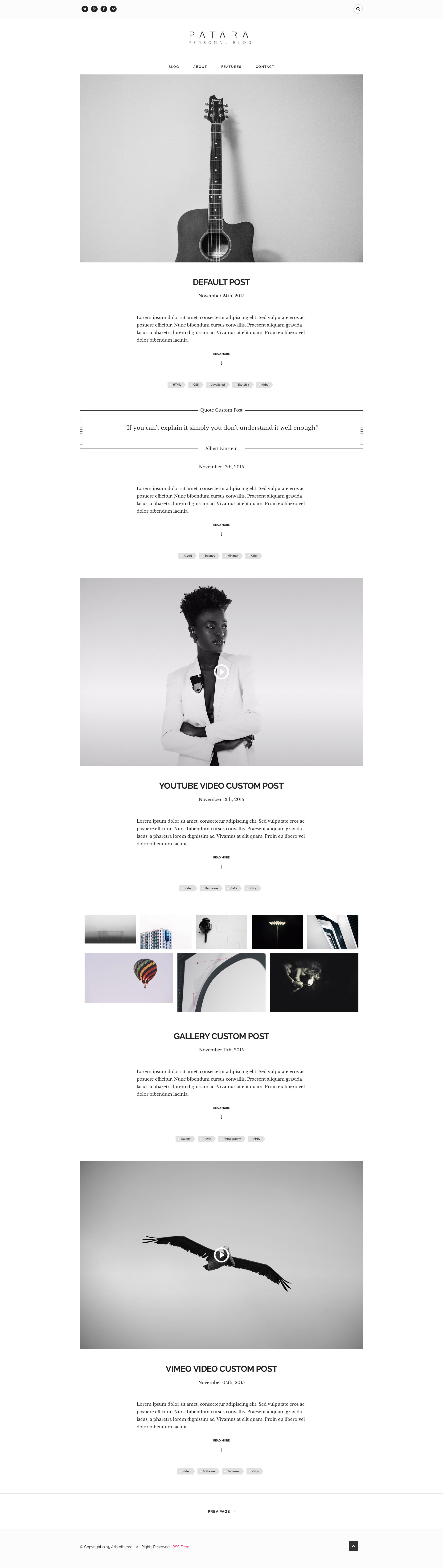 Patara is a minimalist free responsive HTML5 blog template. It is suitable for any kind of personal, travel, hobby, life style and tutorial blog etc. It's code clean and well structured.
