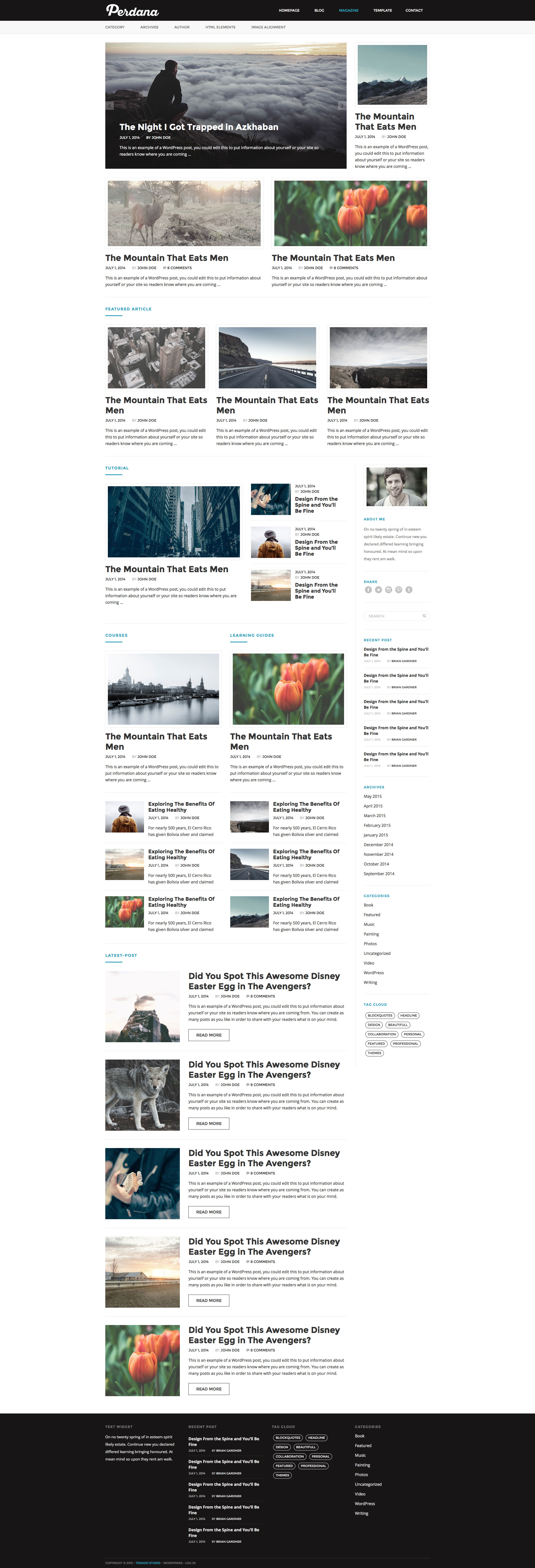 Perdana is a free Magazine/Blog HTML5 Template with classic design and modern look. It's well suited for magazine, news, blog or editorial site. This template is fully responsive, based on the popular Bootstrap framework and comes with 5 different skin colors, 2 different layout options and 10 different background patterns.