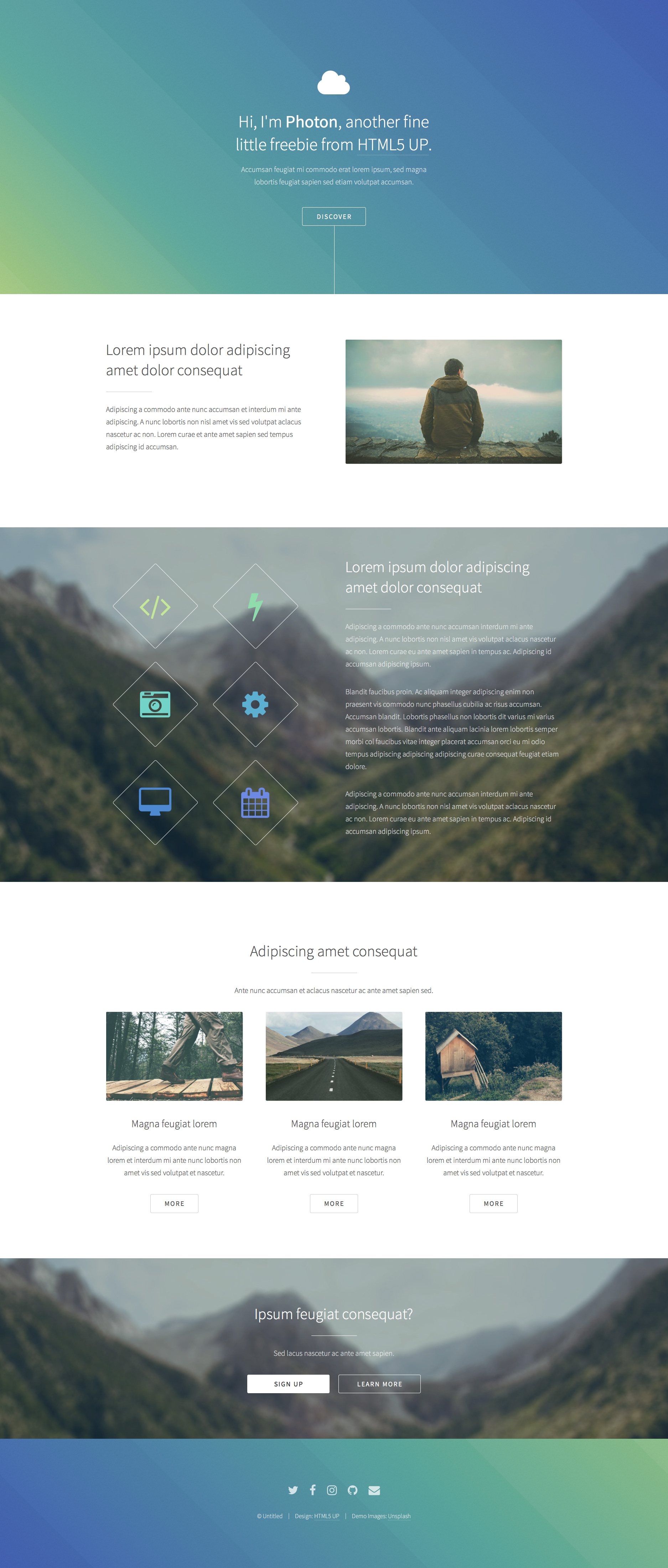 Photon is a simple (gradient-heavy) free responsive HTML5 One Page website template. It is fully responsive, retina ready HTML5 template built on Sass, and as usual, loaded with an assortment of pre-styled elements.