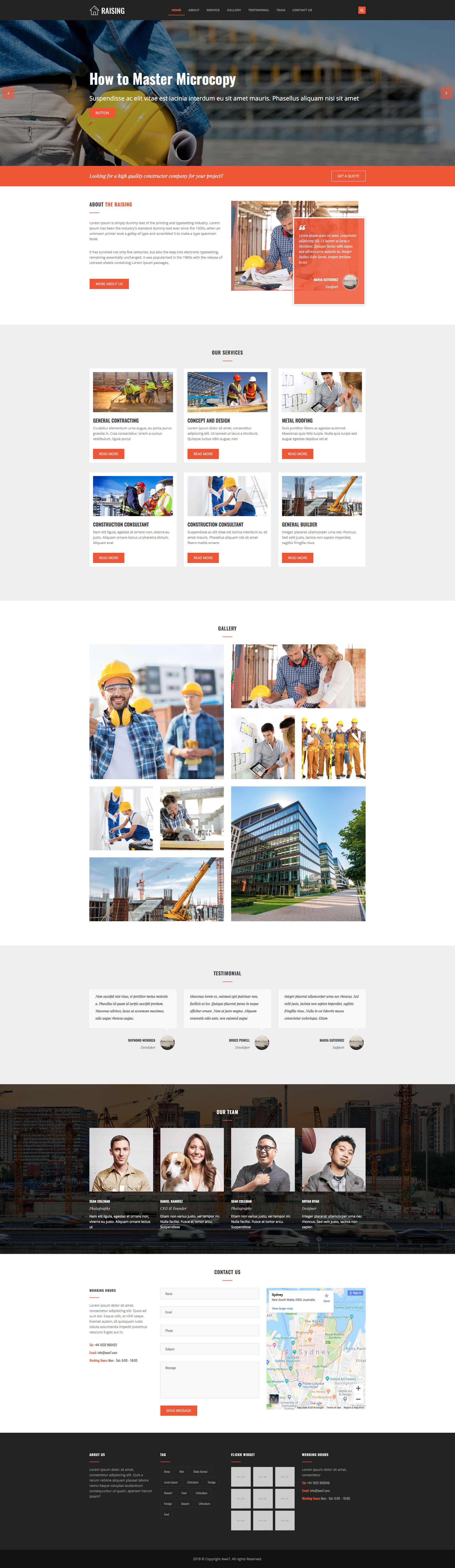 Raising free HTML Template is a free one page responsive Bootstrap Construction website template. This free HTML Template specially developed for construction companies. Raising free HTML Construction Template is fully responsive and retina ready, it will look great and sharp and comes with the popular Bootstrap CSS Grid System.