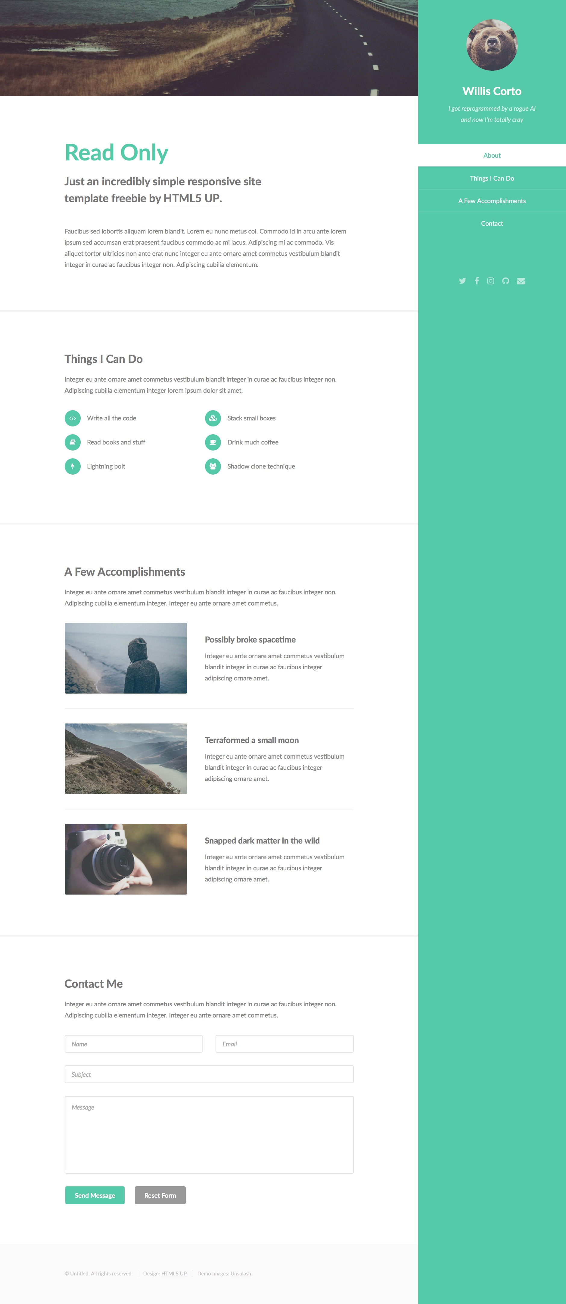 Read Only Free responsive HTML5 Personal template - HTMLTEMPLATES CO