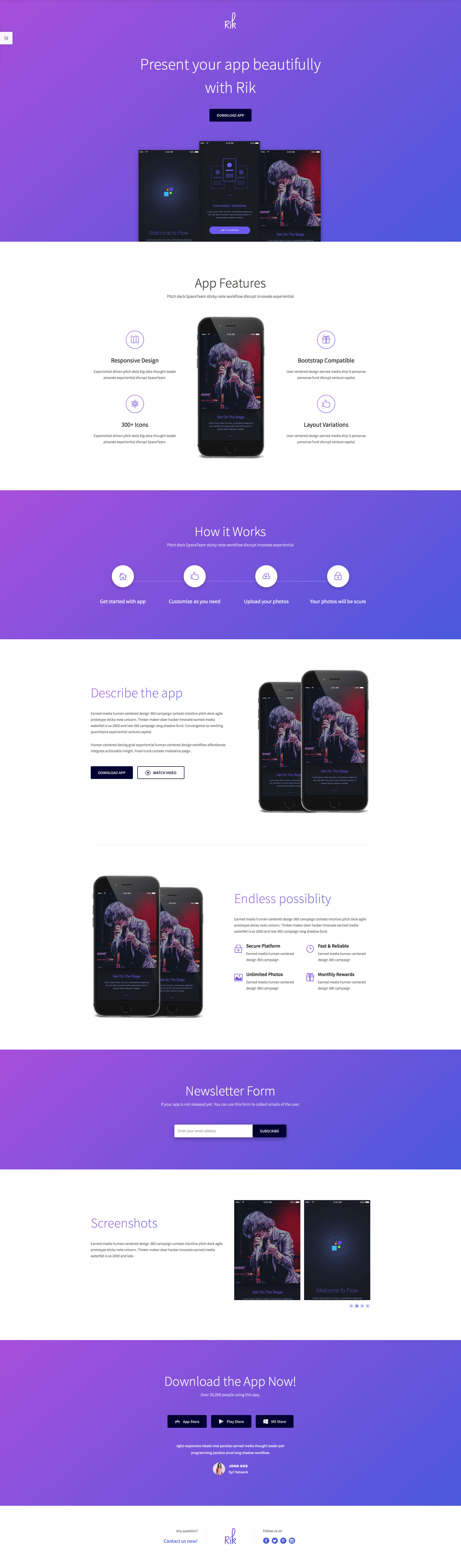 Rik is a free responsive HTML5 website template based on Bootstrap Framework. It's a free responsive template built with the latest HTML5, CSS3. Rik is the ideal choice for App or product websites.