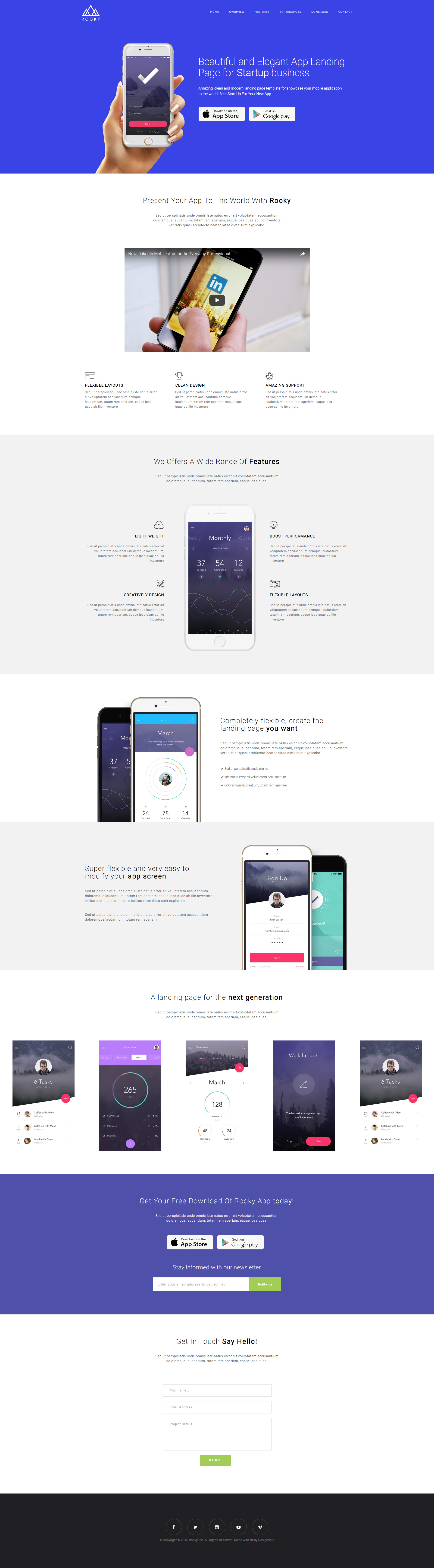 Rooky is clean and beautiful free responsive HTML5 App landing website template for application based websites. Built with the popular twitter Bootstrap and HTML5 code. This template is fully responsive and retina ready.