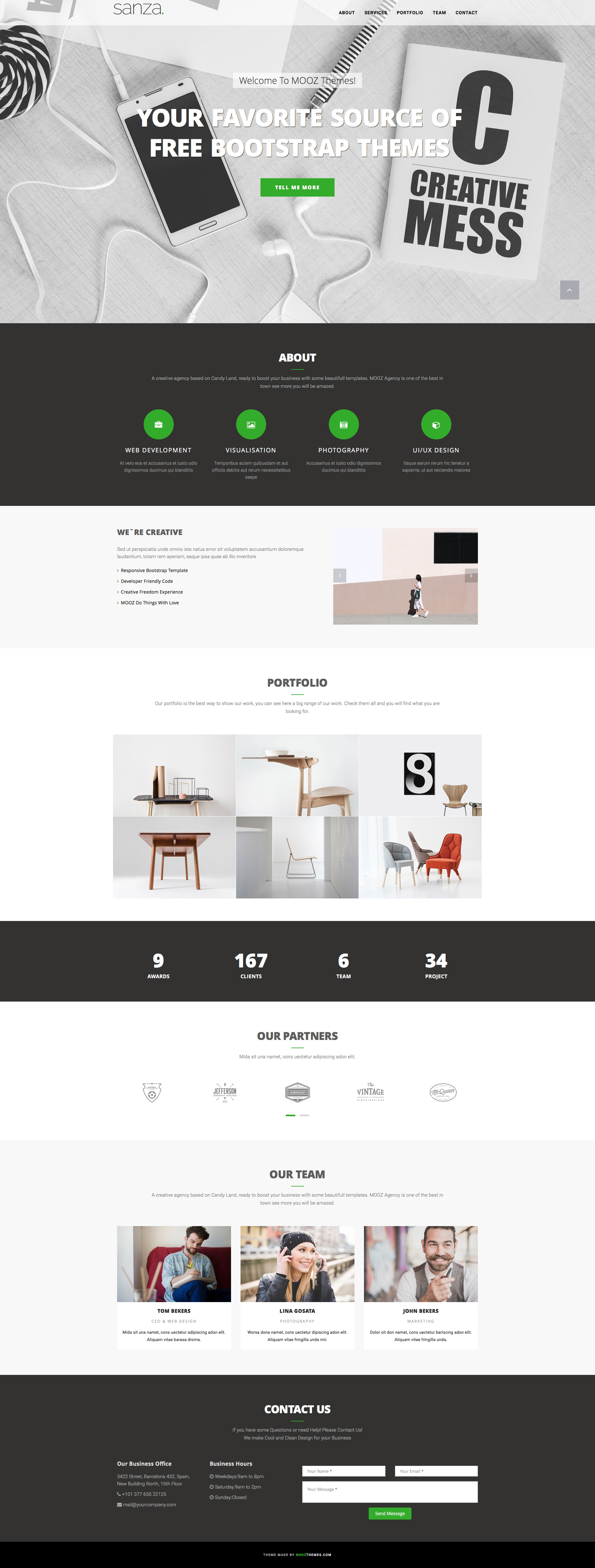 Sanza is a clean and elegant, free HTML5 one page Bootstrap HTML template for creatives, and agencies. Sanza template features fully responsive design, Bootstrap framework, FontAwesome icons and hundreds of google fonts, clean HTML markup, portfolio grid and many more.