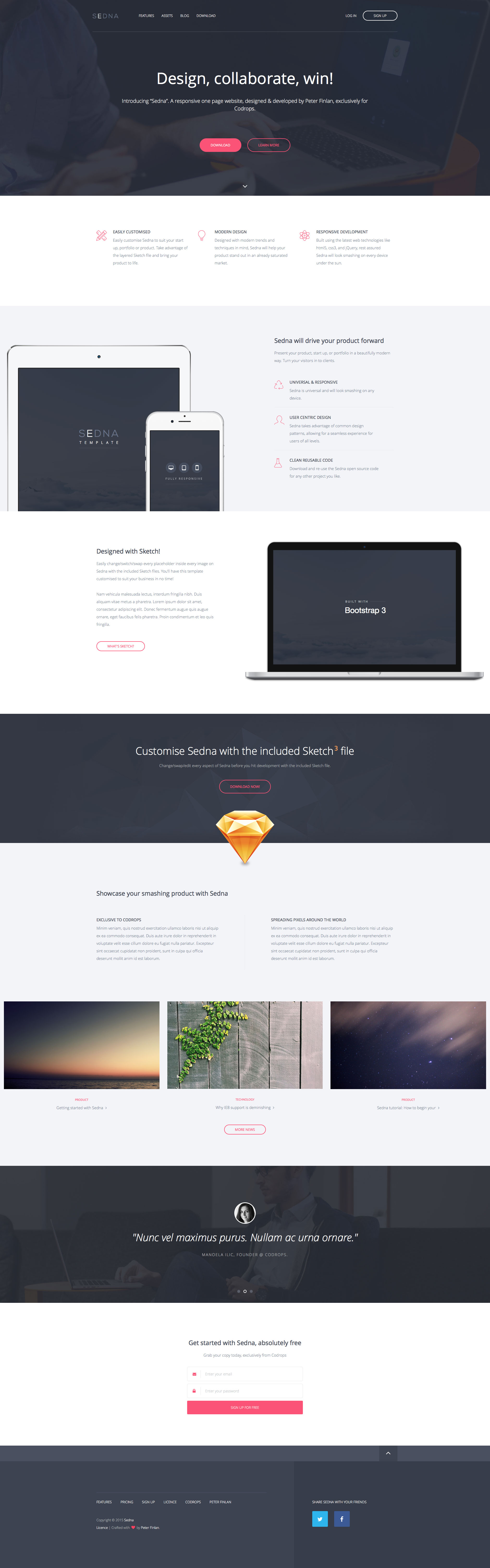 Sedna is a beautiful responsive HTML5 landing page website template made with Bootstrap 3. It's clean and nice design makes for a fitting template usable for many different scenarios.