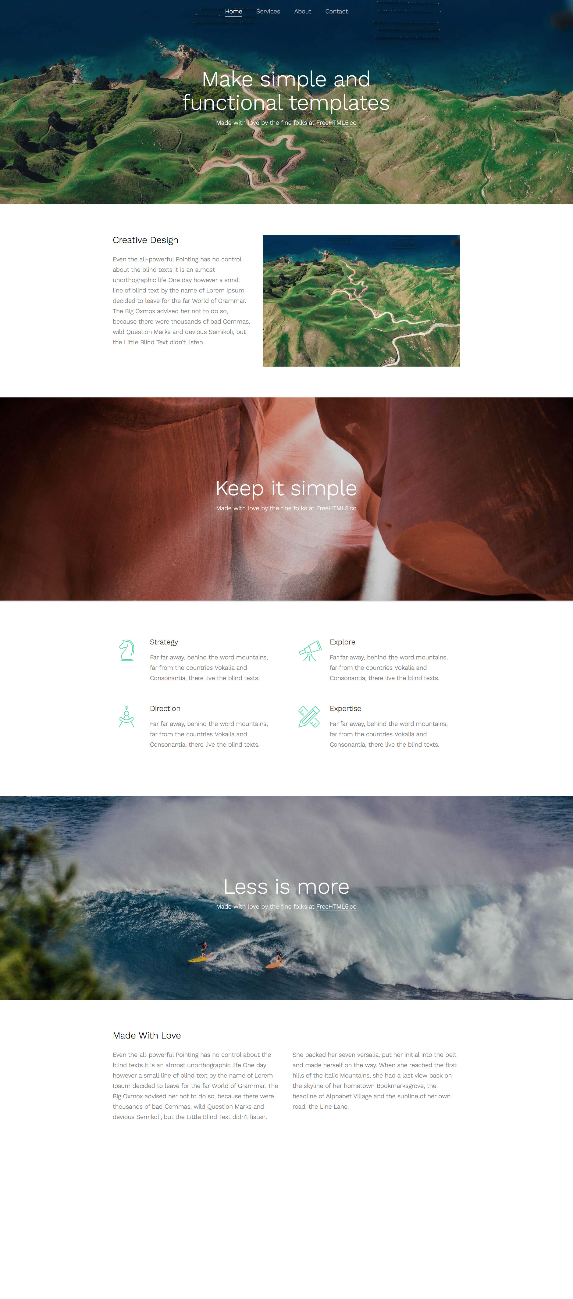 Simple is a free responsive HTML5 multi-purpose website template based on Bootstrap 3 front-end framework. Simple is ideal choice for any kind of business websites. This template is fully responsive and comes with the latest technology like smooth parallax, HTML5 and CSS3.