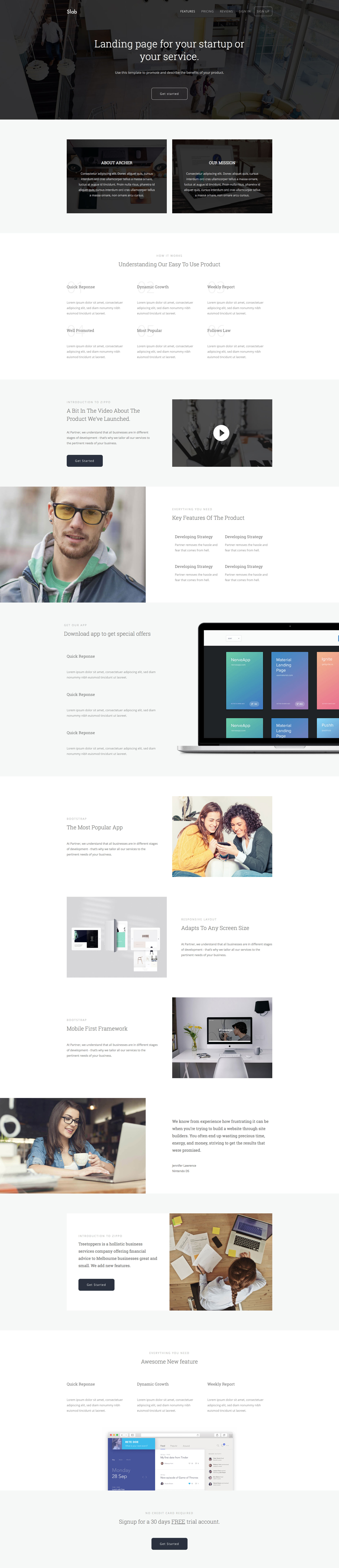 Slab is a minimalist free responsive multipurpose HTML5 and CSS3 template based on the popular Bootstrap 3 framework. It features  740+ premium icons, working contact form, video section, pricing and team section. Slab is suitable for business related websites.