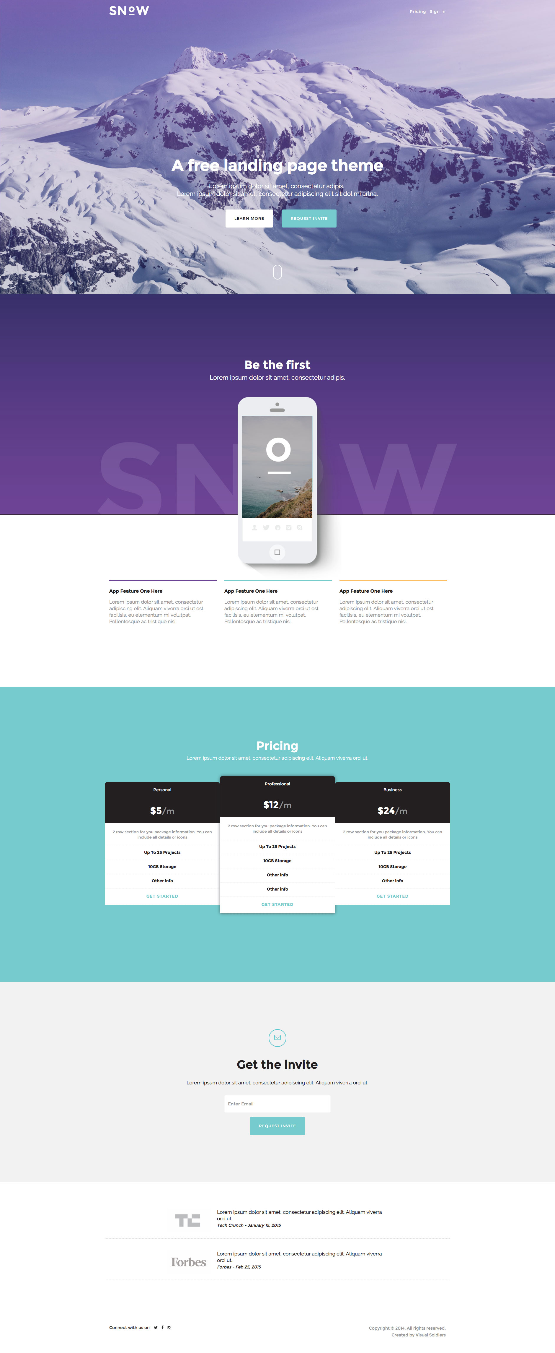 Snow Free Responsive HTML Bootstrap Landing Page Template - One page website template html5 responsive free download