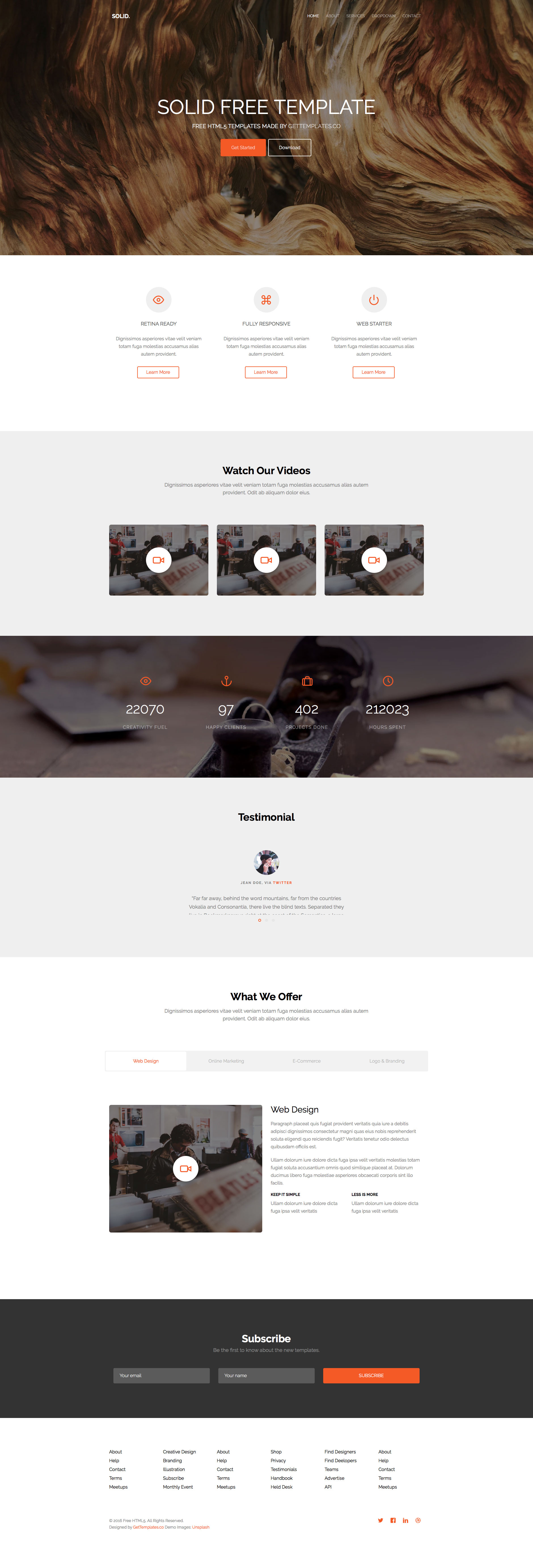 Solid is a free responsive multi purpose HTML5 website template, using Bootstrap 3. The features are 1 level drop-down menu, smooth animation upon scroll, tab content and many more. Solid template perfect for any type of websites.