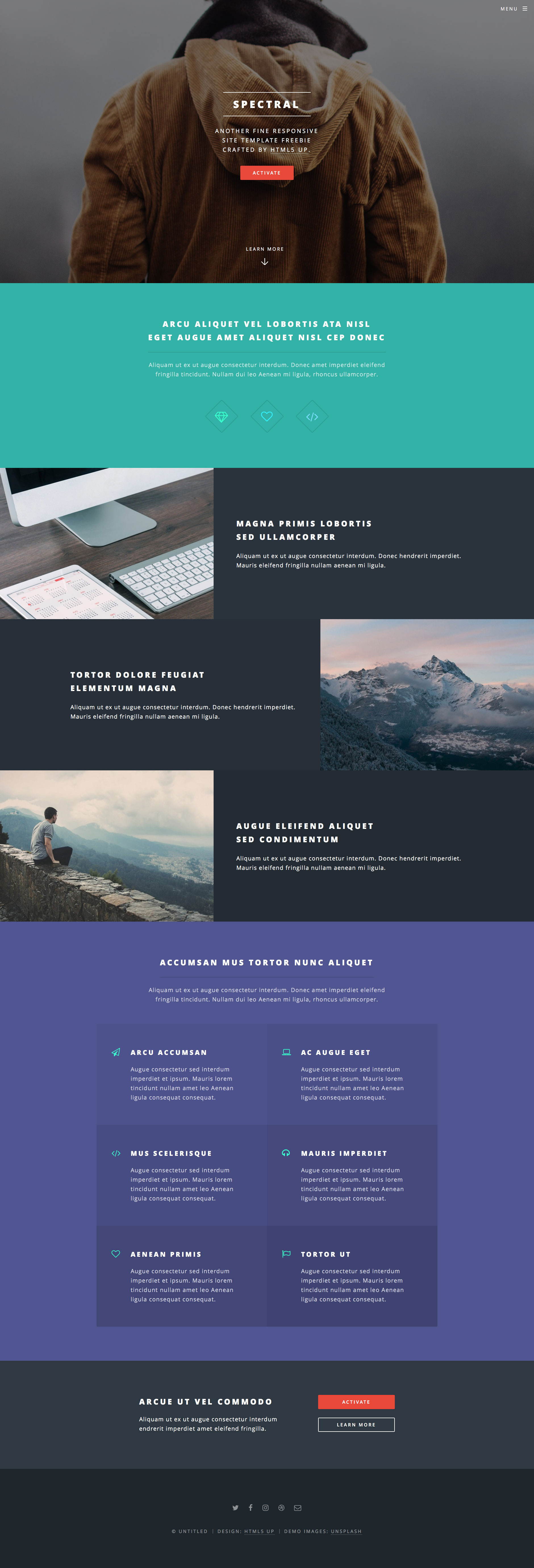 Spectral is a free responsive HTML5 website template for personal or portfolio websites built with the latest HTML5 and CSS3 technology. Spectral template is fully responsive, Retina ready and uses custom framework.