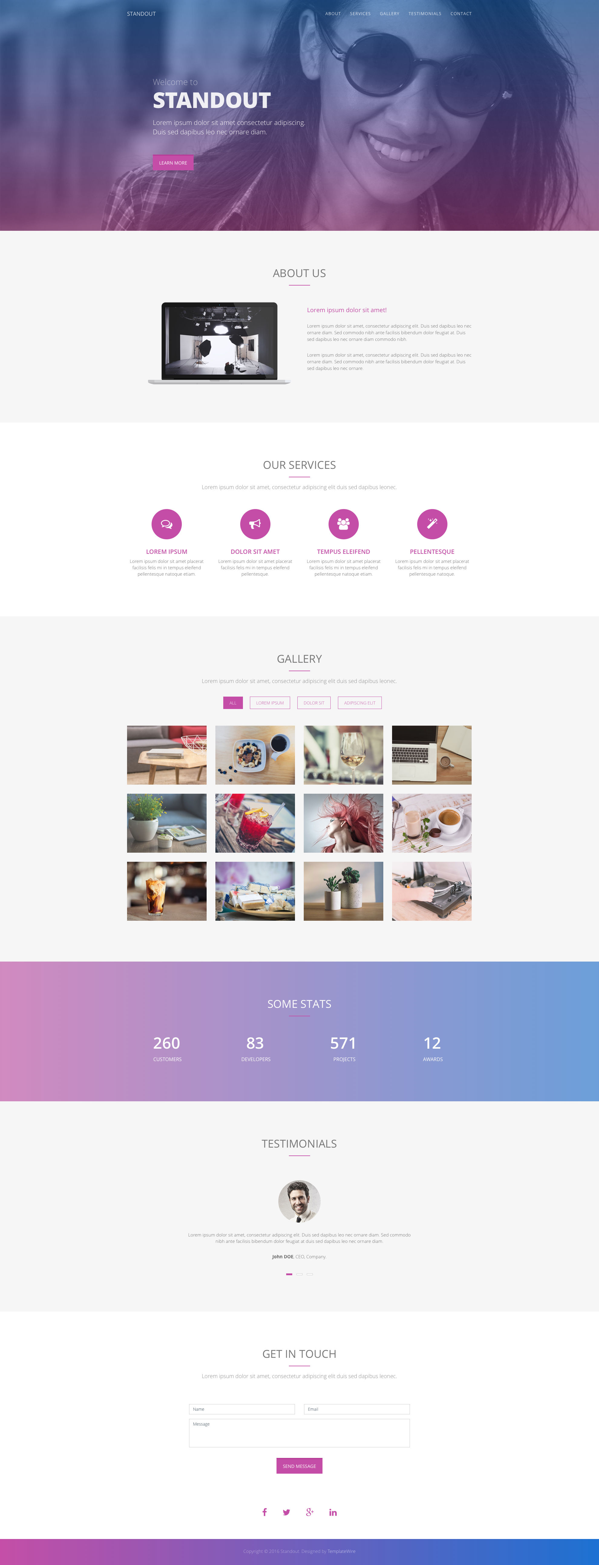 Standout is a free responsive HTML5 Bootstrap one-page HTML5 website template that can be fit for many business related websites. It comes with 6 sections: About, Services, Gallery, Stats, Testimonials and Contact. Standout free HTML template is fully responsive, retina ready and comes with the popular Bootstrap CSS Grid System.