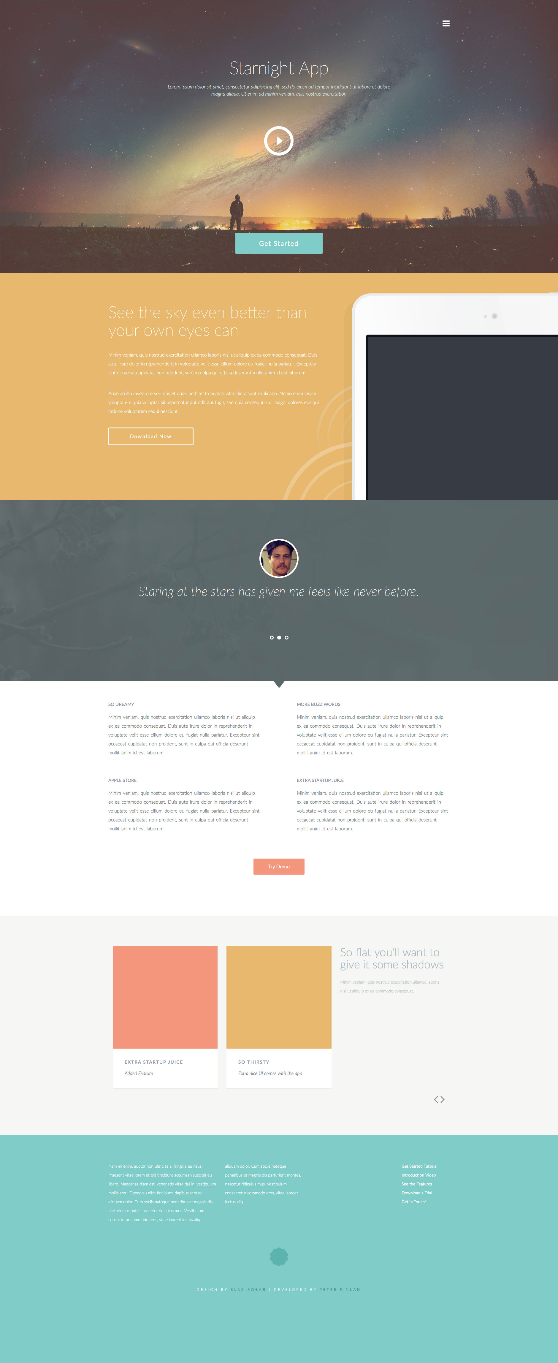 Starnight is a beautifully designed colorful free HTML5 website template. It's fully responsive and built on the Bootstrap framework. Ideal choice for app websites.