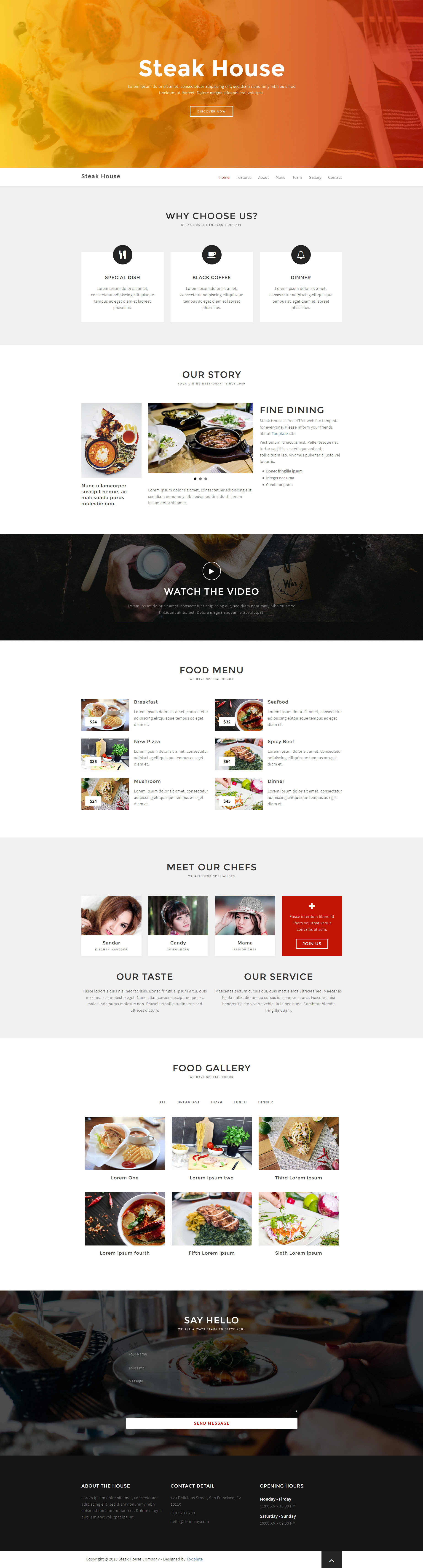 steak house free responsive html5 bootstrap one page template