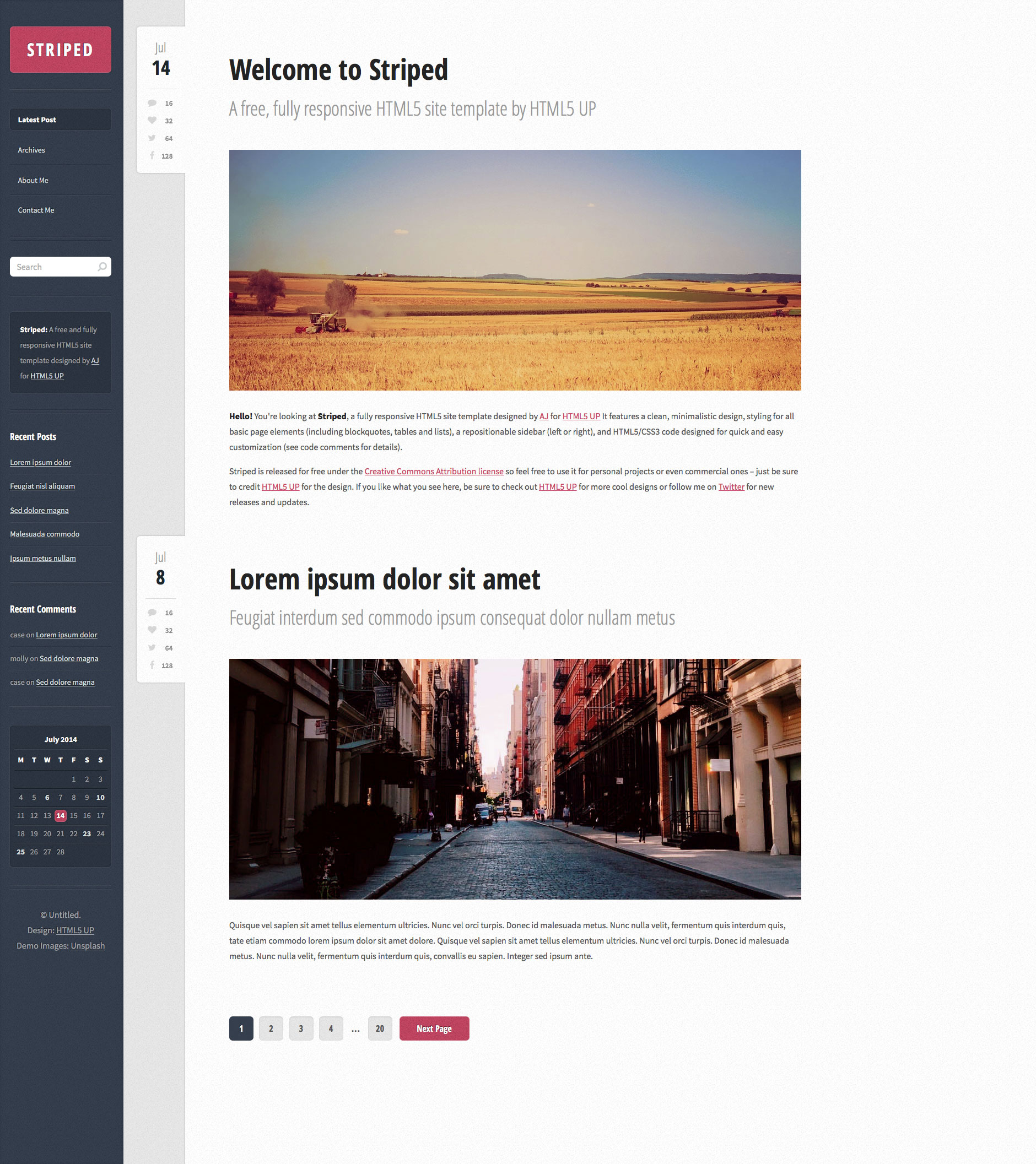 Striped is a minimal and fast free responsive personal page site template. The perfect HTML5 template to showcase your your everyday life.