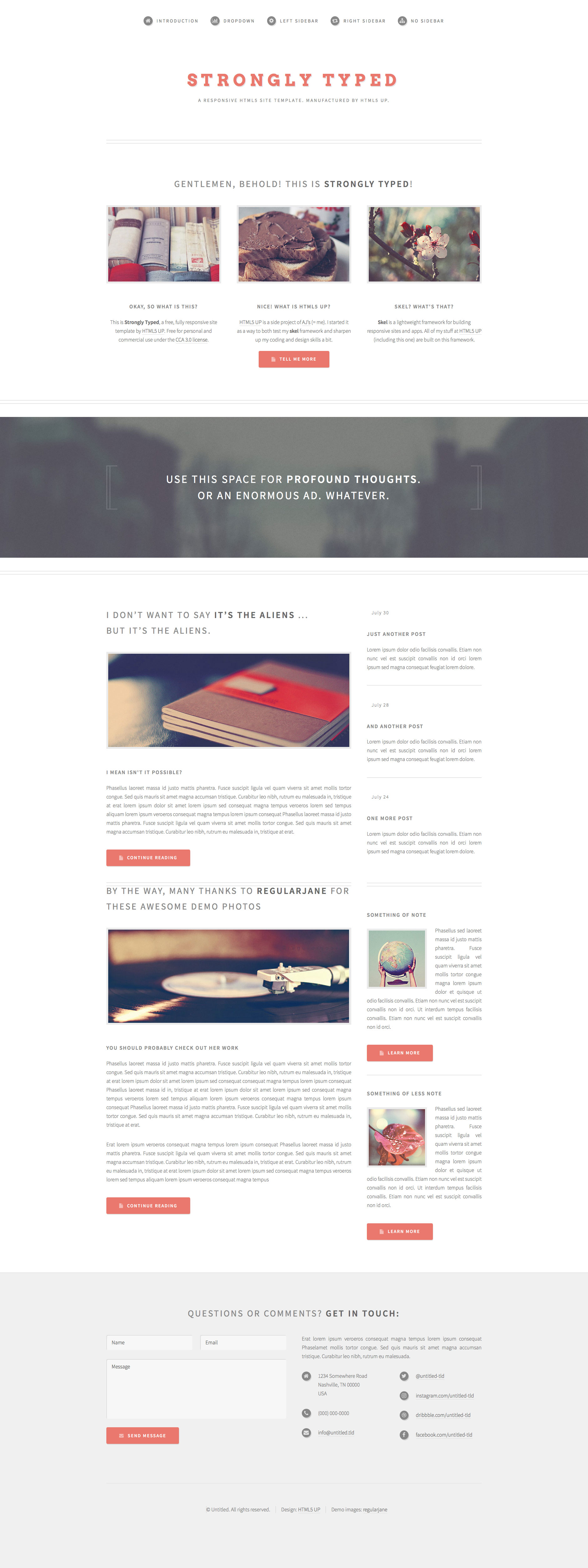 Strongly Typed is a free responsive HTML5 personal website template with a minimal, semi-retrolook (inspired by old instruction manuals). It's fully responsive, built on HTML5 and CSS3, and includes styling for all basic page elements.