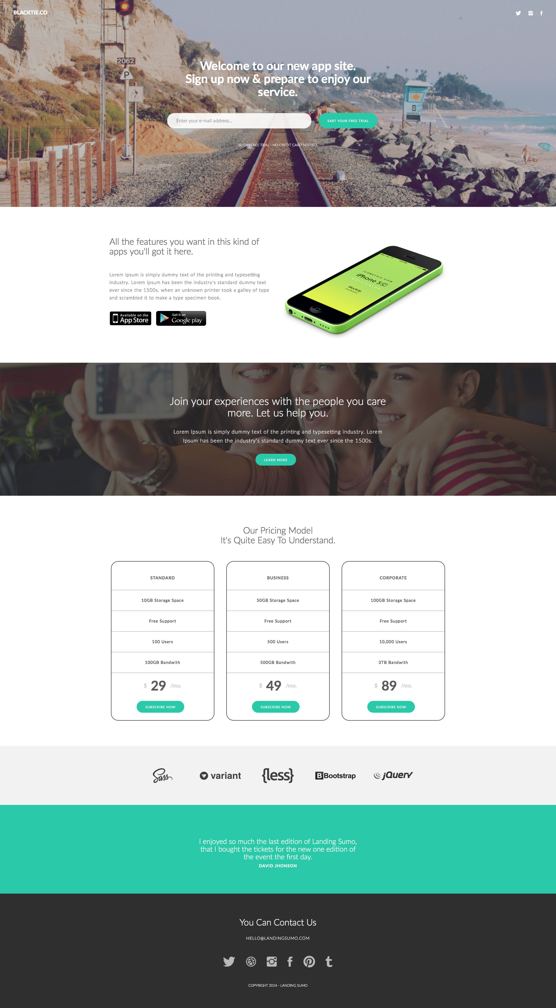 Sumo Landing Free Responsive HTML Bootstrap Template HTMLTEMPLATESCO - Free landing page templates html5