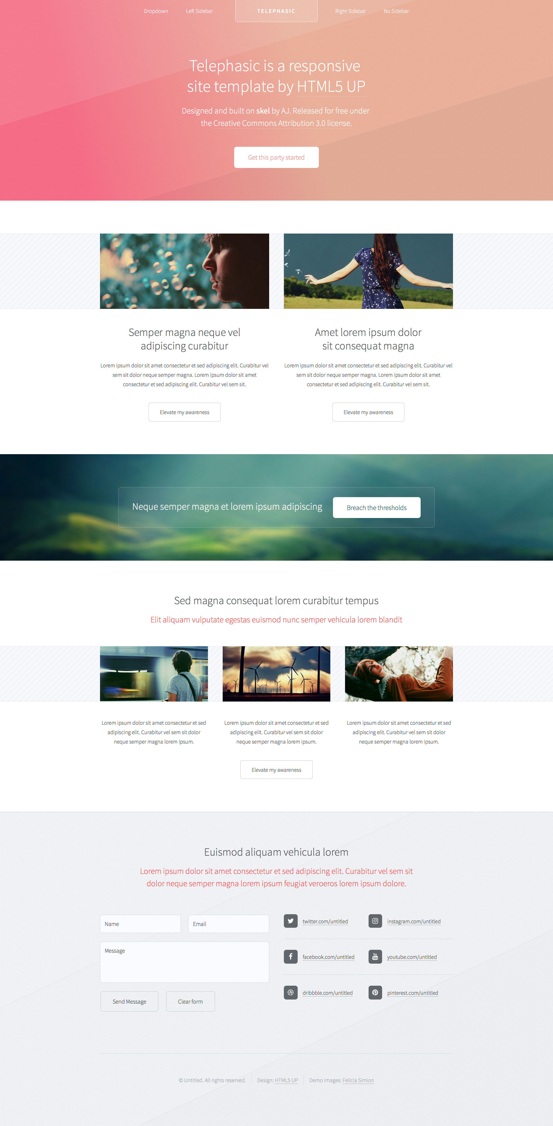Telephasic is retina ready free responsive HTML5 website template. It features a sharp and modern design. The prefect choice for personal websites. This template uses the latest HTML5 and CSS3 technologies.
