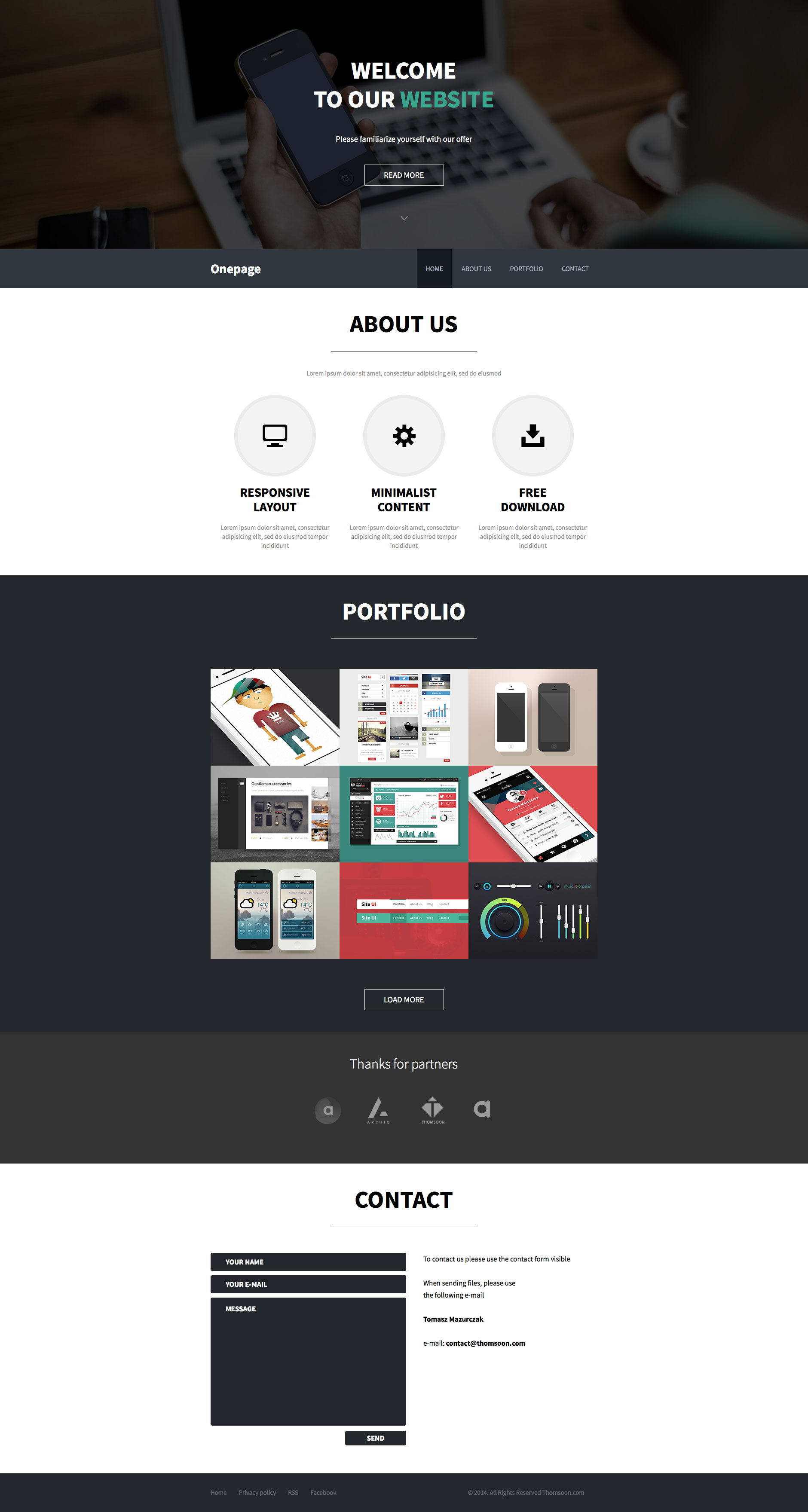 Free minimalist HTML5 and CSS3 based responsive website with content About Us, Portfolio and Contact form pages. It's fully responsive and additionally contains Behance API for your portfolio.