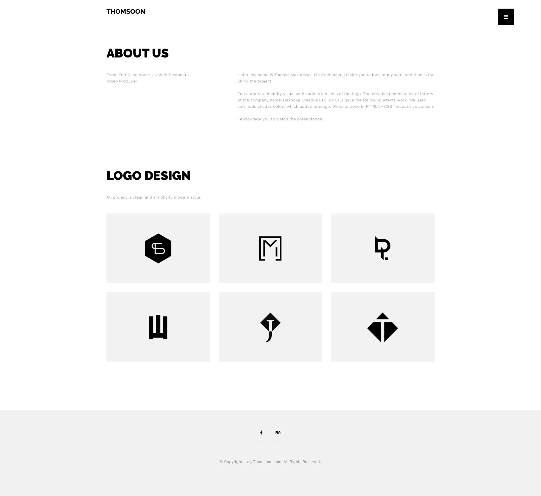 Thomsoon portfolio free responsive html5 template htmltemplates free minimalist responsive html5 multipurpose template with full screen portfolio view and home page with parallax maxwellsz