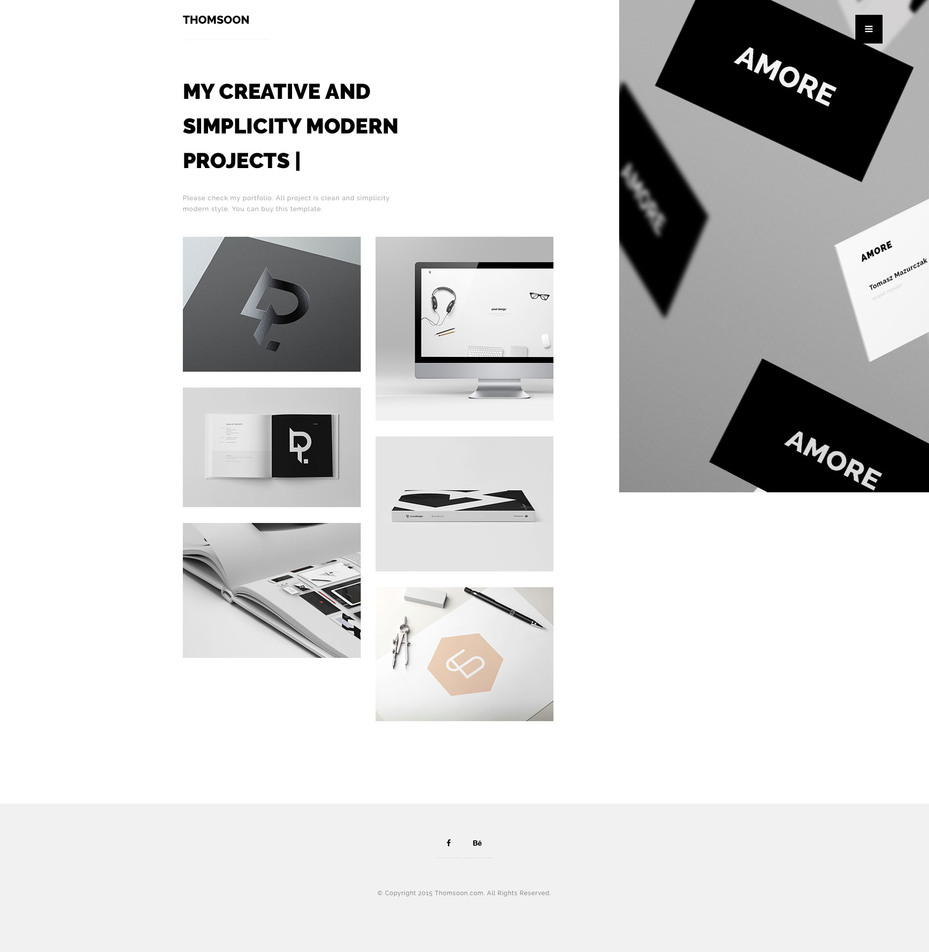 Free minimalist responsive HTML5 multipurpose template with full screen portfolio view and home page with Parallax sidebar. Ideal for your portfolio and photography showcase.