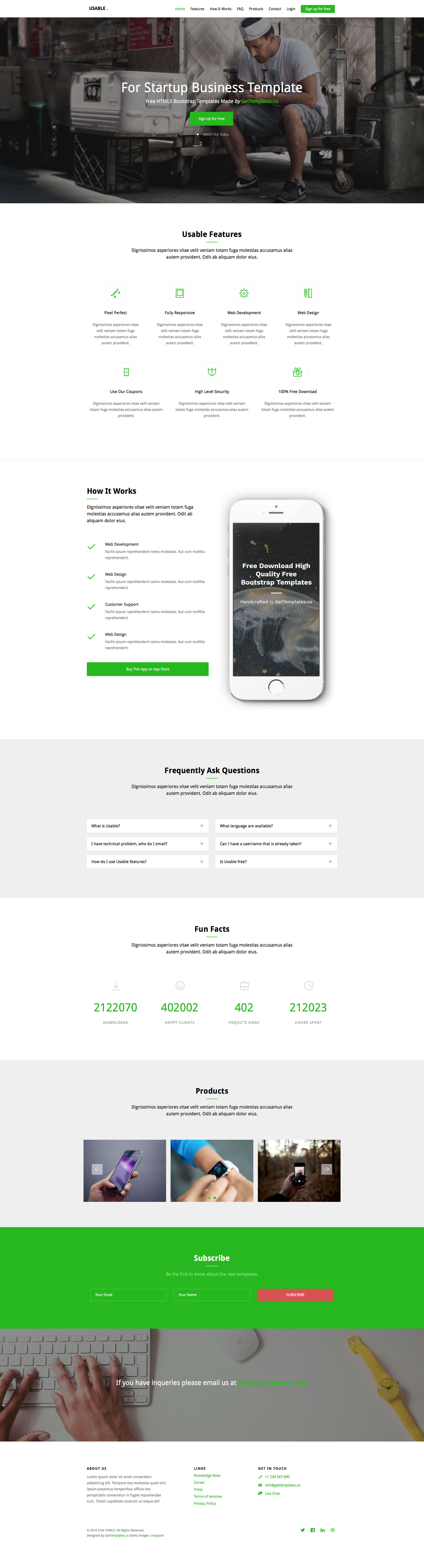 Free Html Responsive Single Page Template Flusk A Responsive Multi - One page website template html5 responsive free download