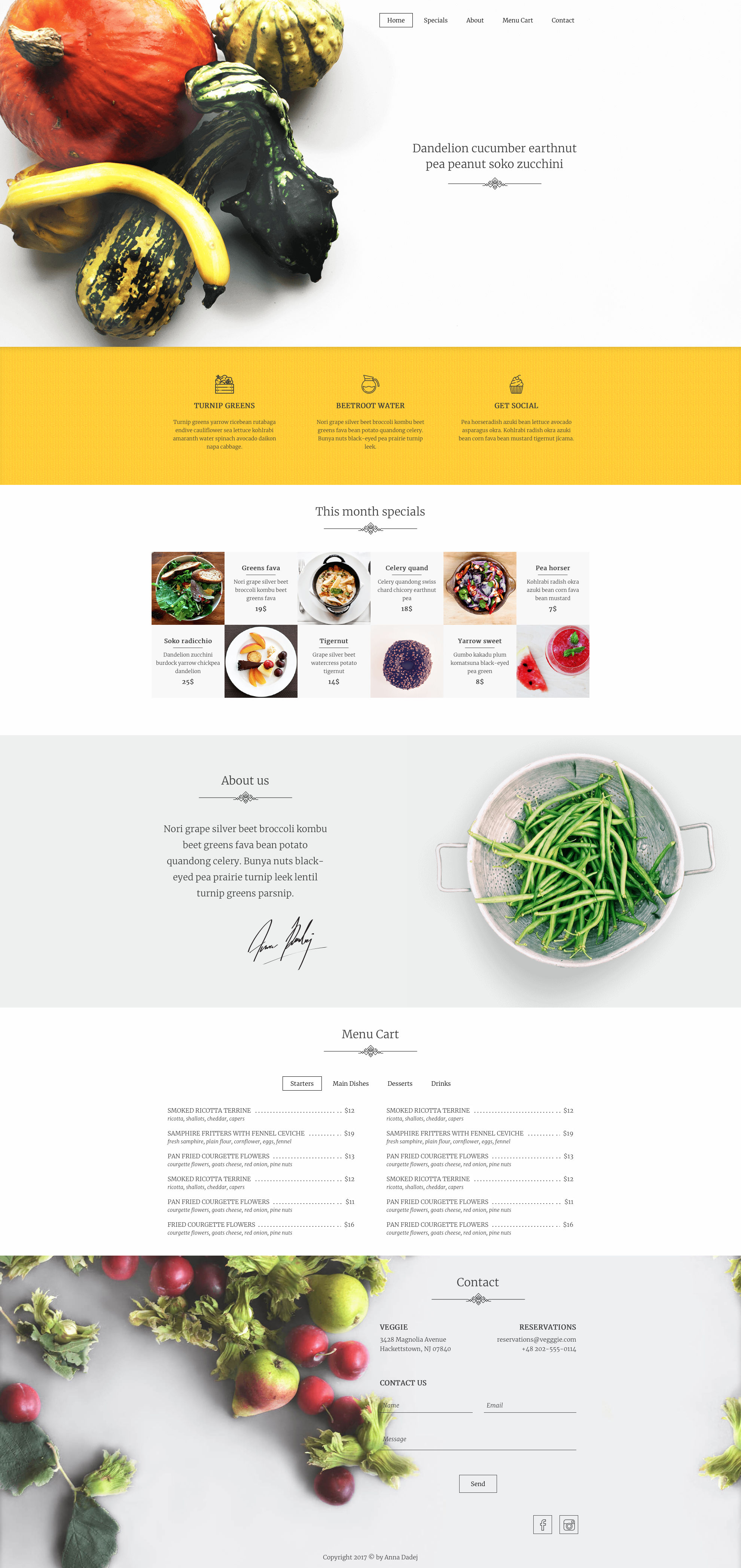 Veggie is clean and modern free responsive one-page HTML template mde for Food & Restaurant related websites. Veggie free HTML template is fully responsive and comes with a custom CSS Grid System.