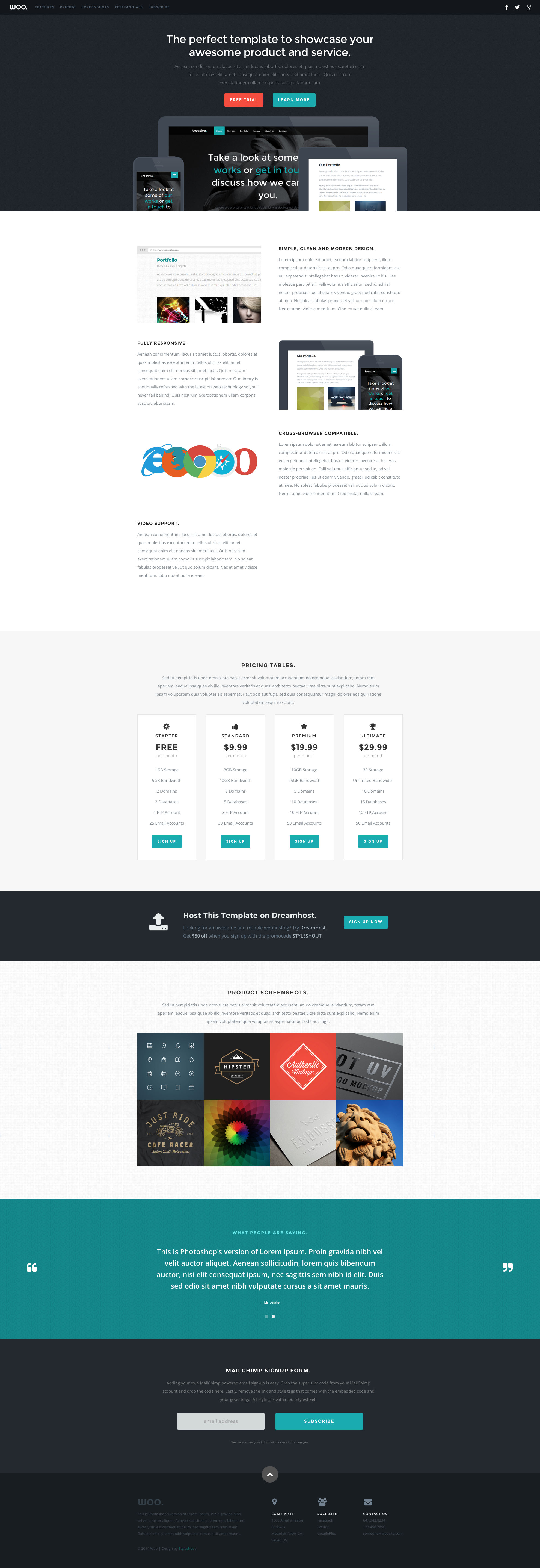 Woo free HTML template is perfect for any product related website. It is cross browser compatible and retina ready and works on all major platforms. Woo free html template has an amazing layout and a beautiful design it is the ideal template to showcase your product.