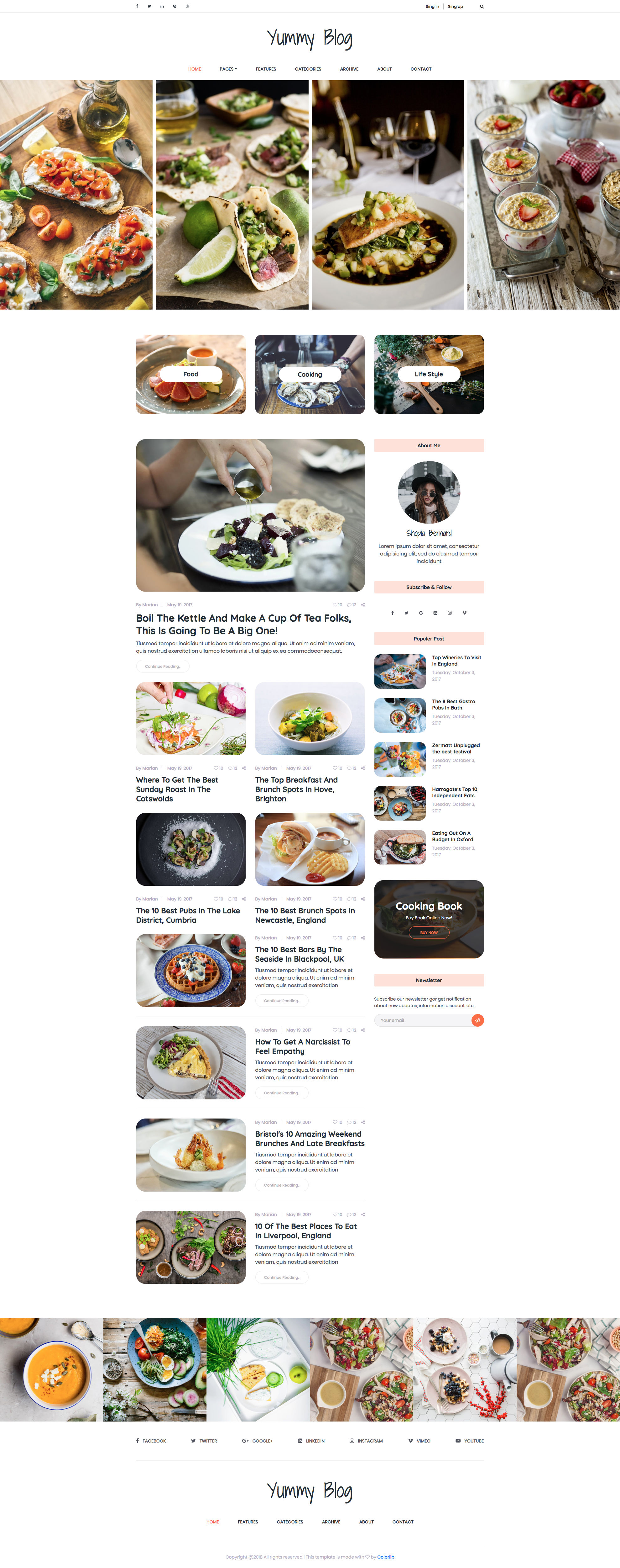 Yummy HTML template is a well design HTML5 Bootstrap Food Blog website template the best choice for food bloggers. This Blog template looks beautiful and appears smoothly on any device. It comes with 5 different pages and the best choice for food bloggers. Yummy HTML Food Blog template is retina ready and comes with the popular Bootstrap CSS Grid System.