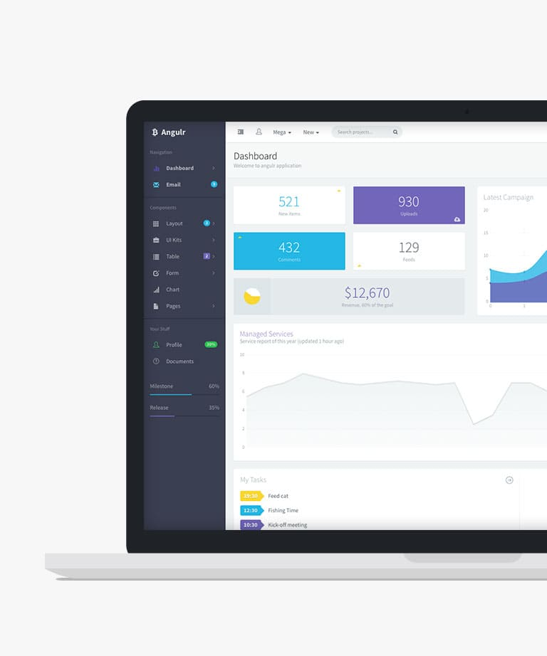 Angulr Responsive HTML5 Bootstrap Admin Web App template