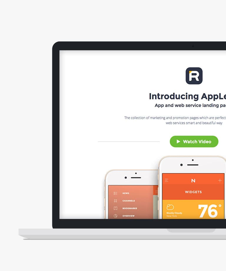 AppLead Responsive HTML5 Bootstrap App Landing template