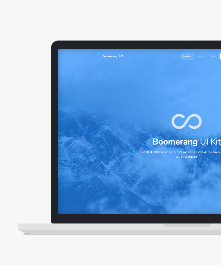 Boomerang Free responsive HTML5 Bootstrap UI Kit